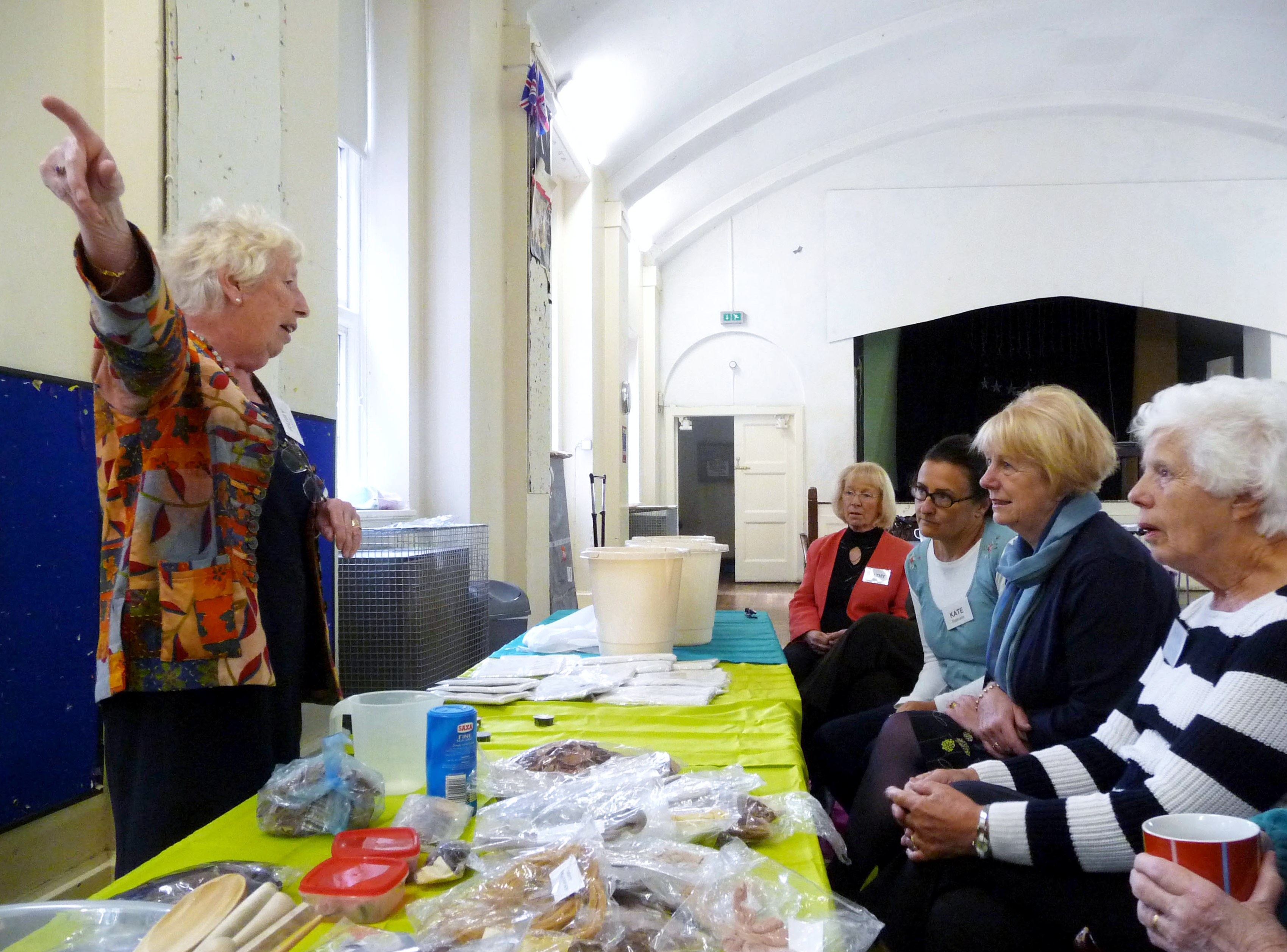 Ruby Porter MBE has the group entralled as she tells them about natural dyes