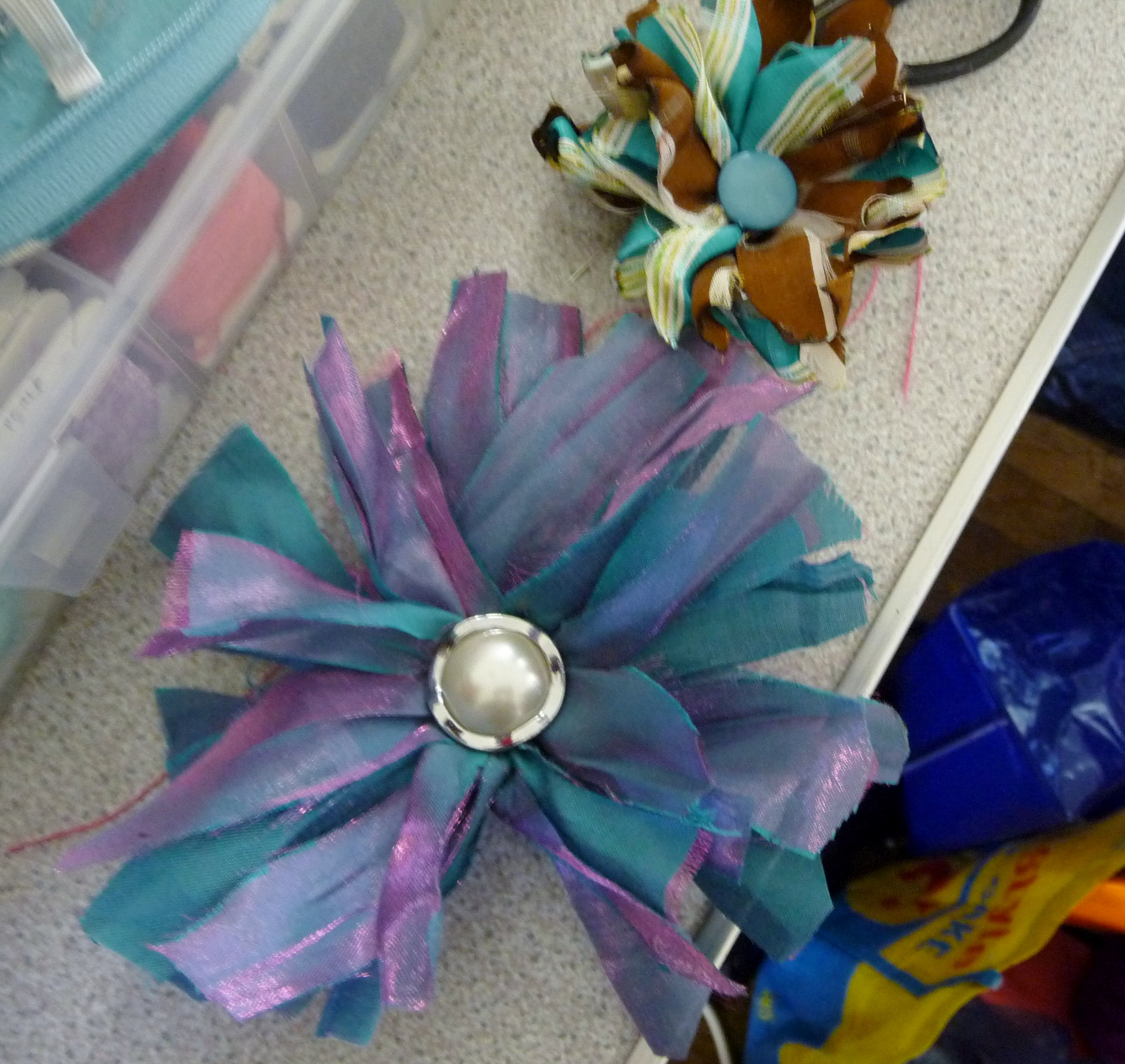 """Recycled Accessory Workshop"" by Tina Leahey. Work by one of the students"