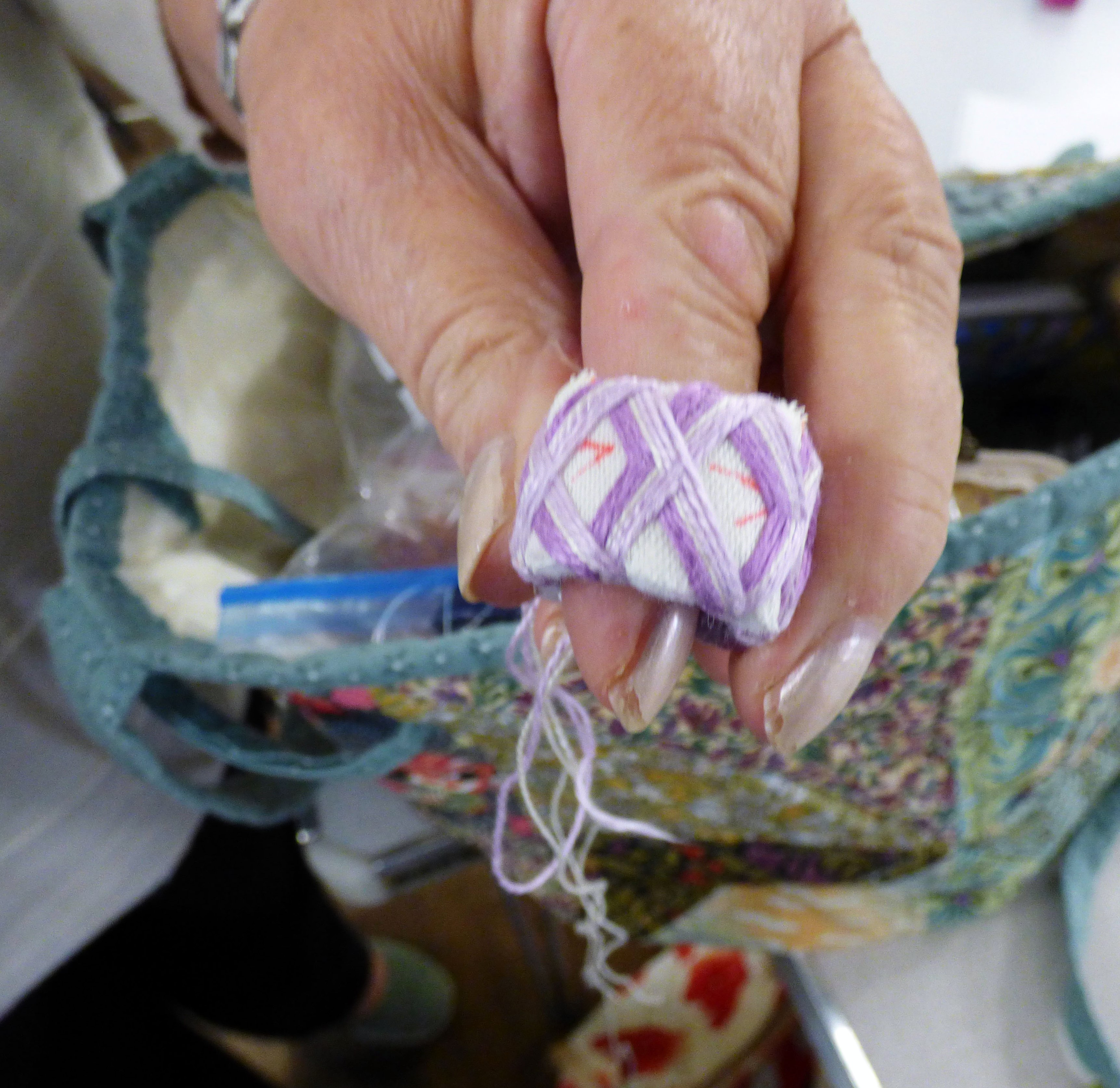 "work in progress at Kathryn Thompson's ""Japanese Thimbles"" workshop"