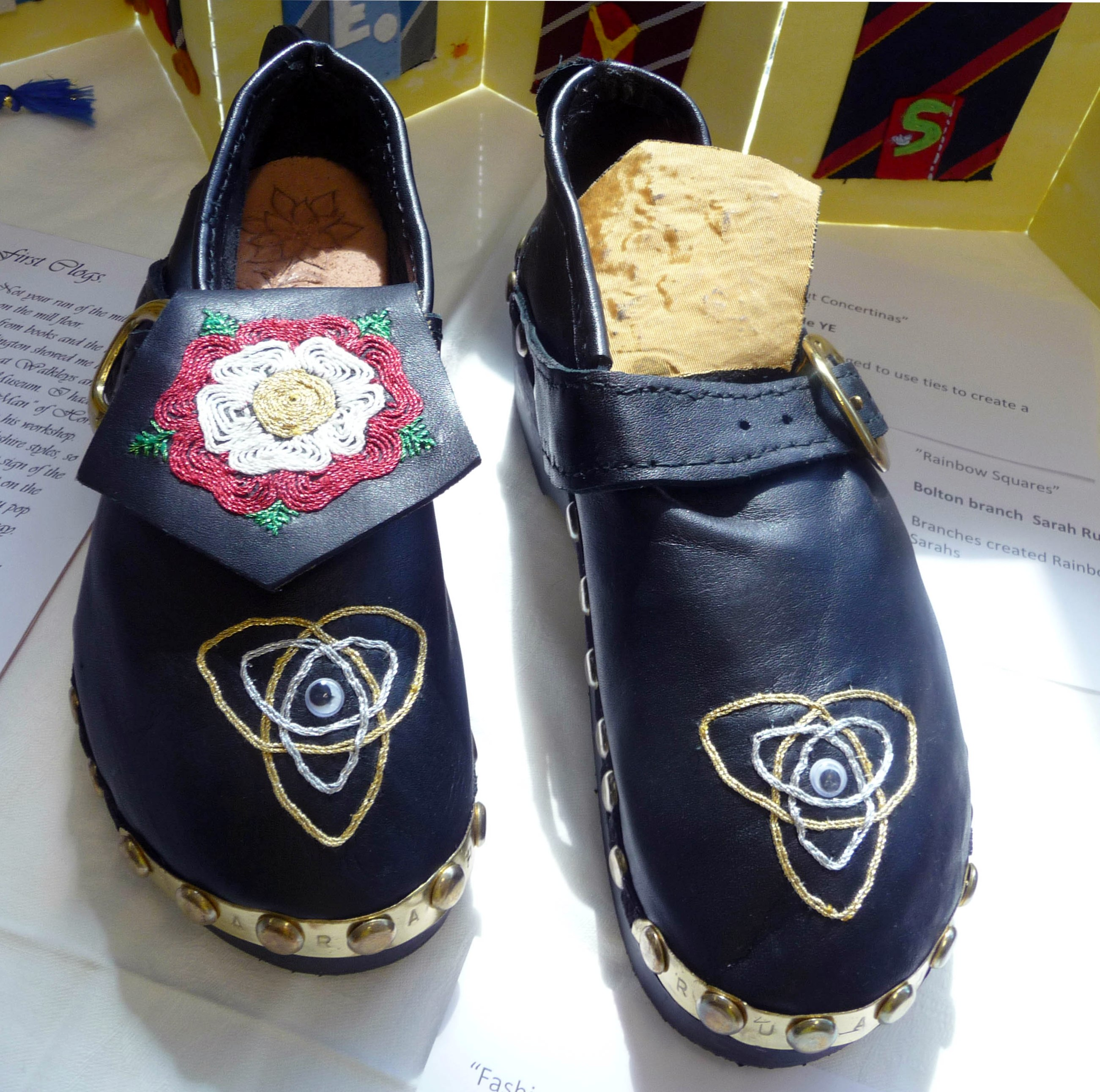 FASHION CLOGS by Sarah Ruaux, Bolton YE, woodwork and embroidery on leather