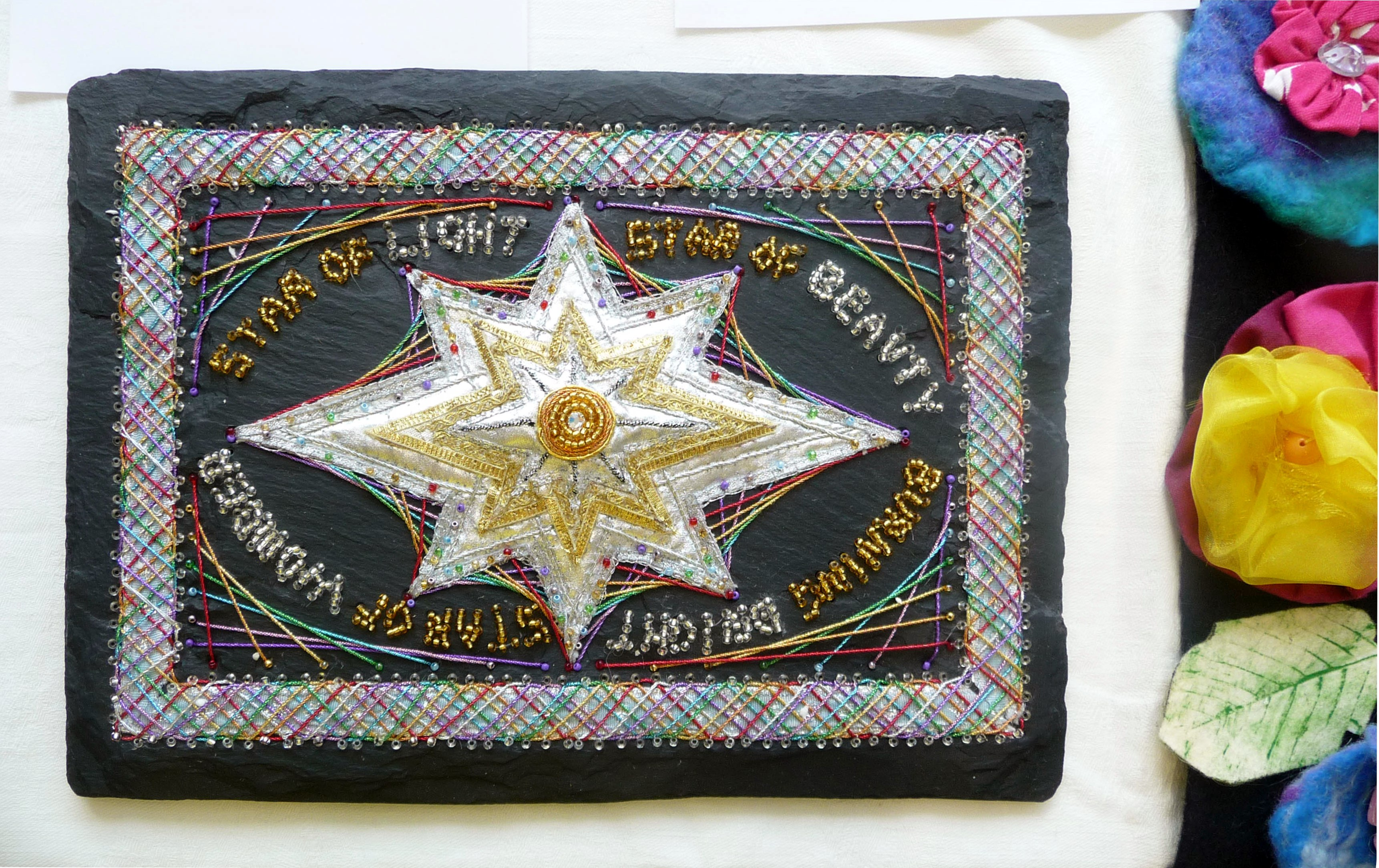 STAR OF LIGHT by Sarah Ruaux, Bolton YE, embroidery on slate