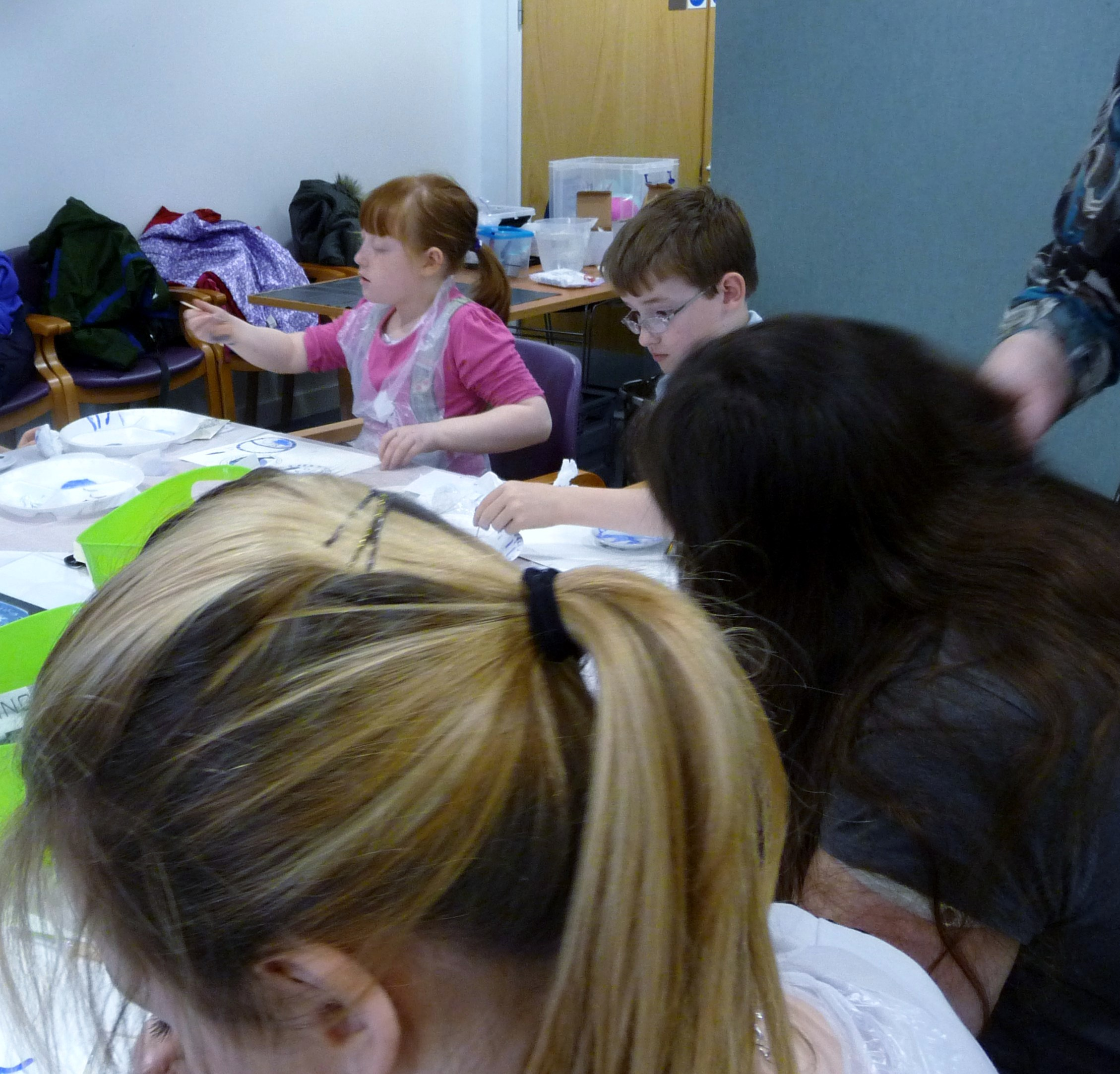 some of our YE group concentrating  on their plate painting activities