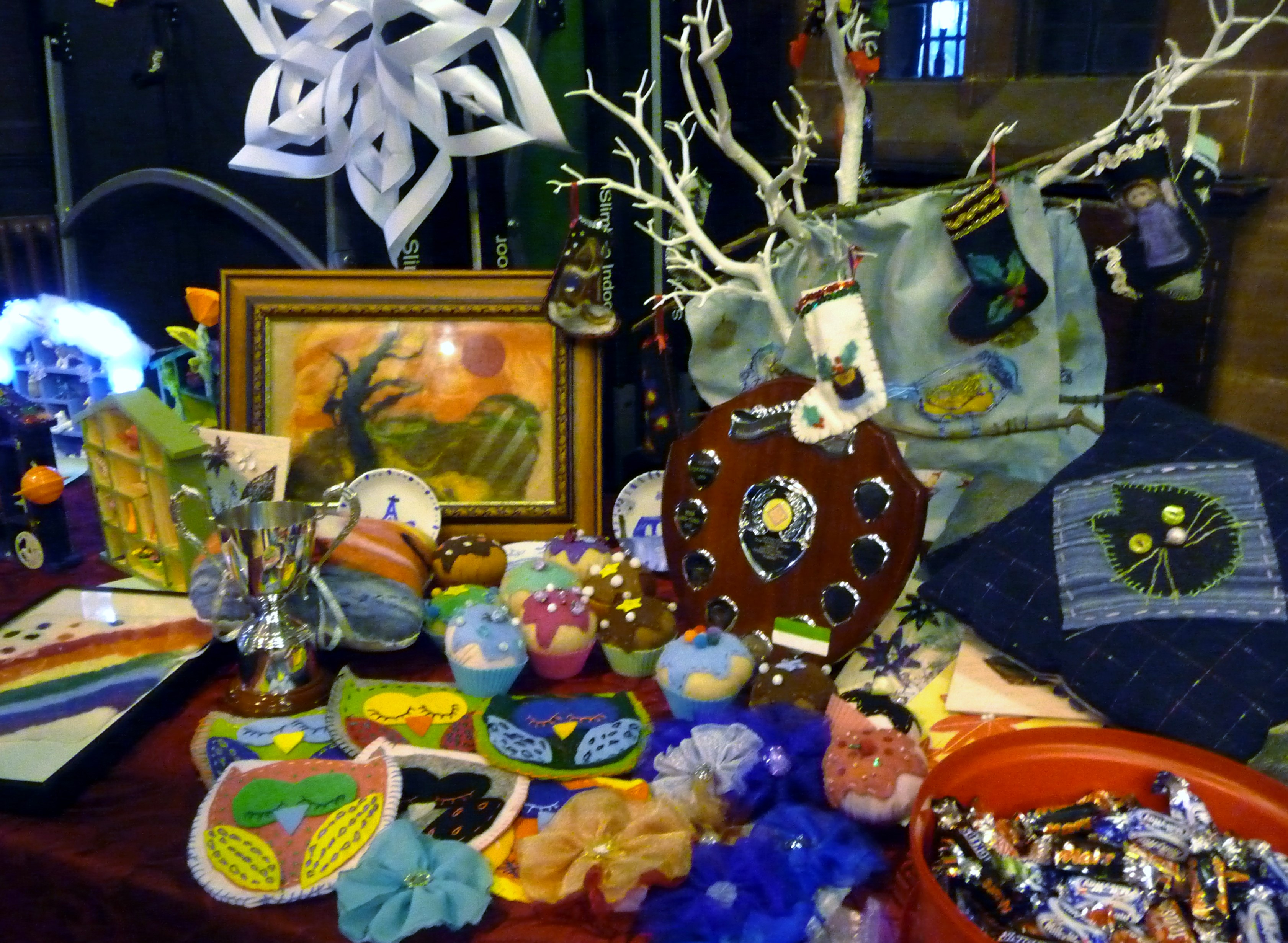 YE display of work and the Cup and Sreepur Shield which is presented to Merseyside Young Embroiderer of the Year