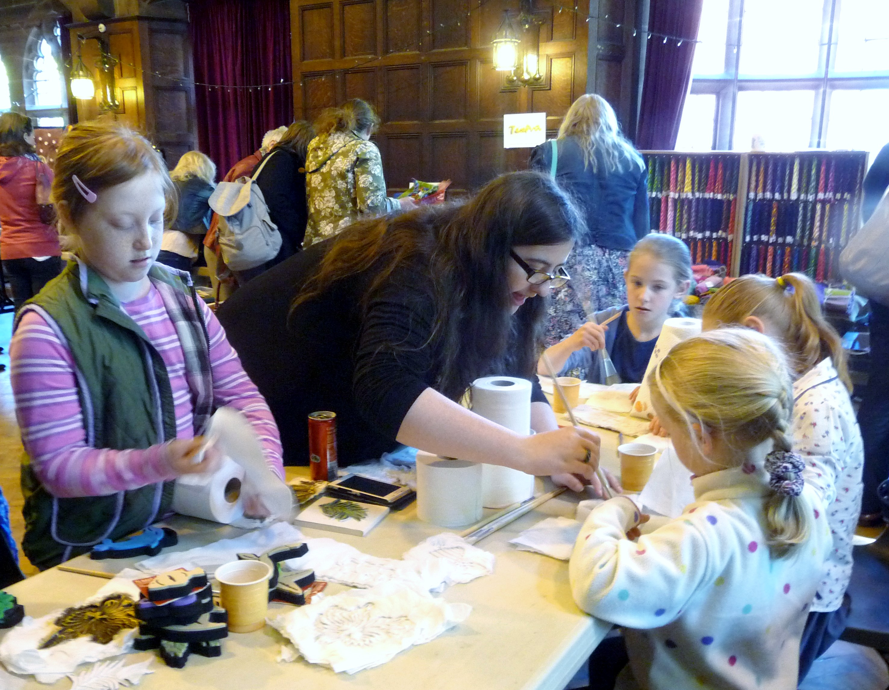 this is our MEG 'Make & Take' activity at 2015 Summer Tea Party. Sophie is showing how to make paper mache fish using rubber stamps as a base