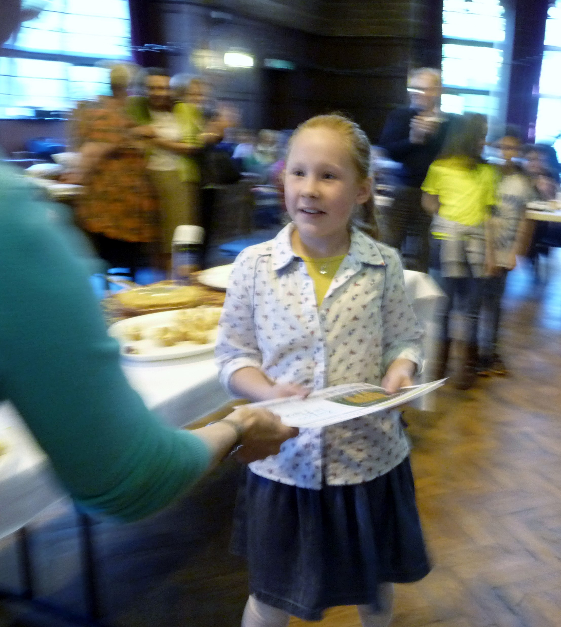 one of our Merseyside Young Embroiderers receiving her certificate for helping to embroider 'The Golden Fleece', winner of the Group Award in de Denne competition 2015