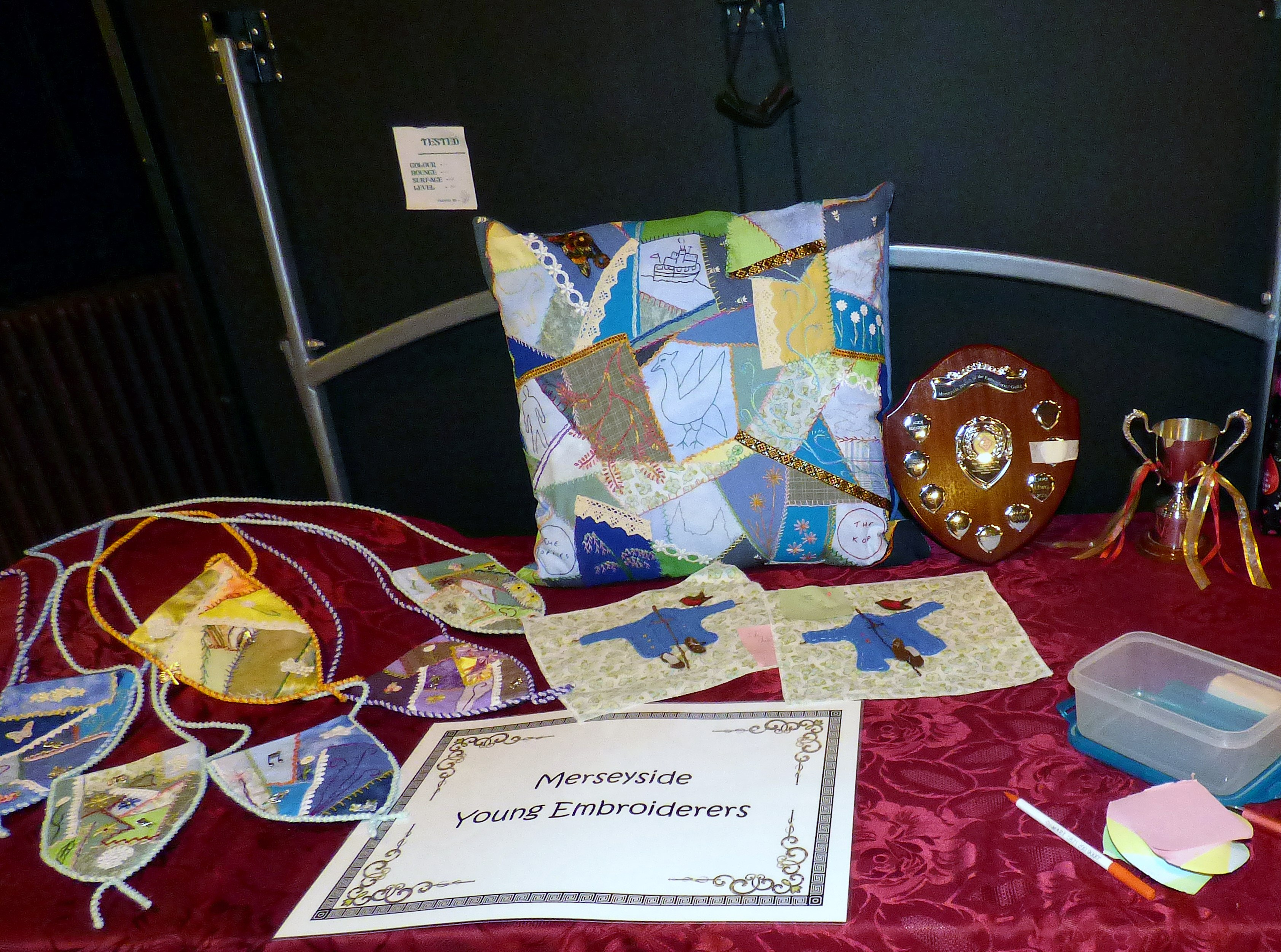 YE display at the Winter Fair 2016, showing cushion for the Lord Mayor's Parlour