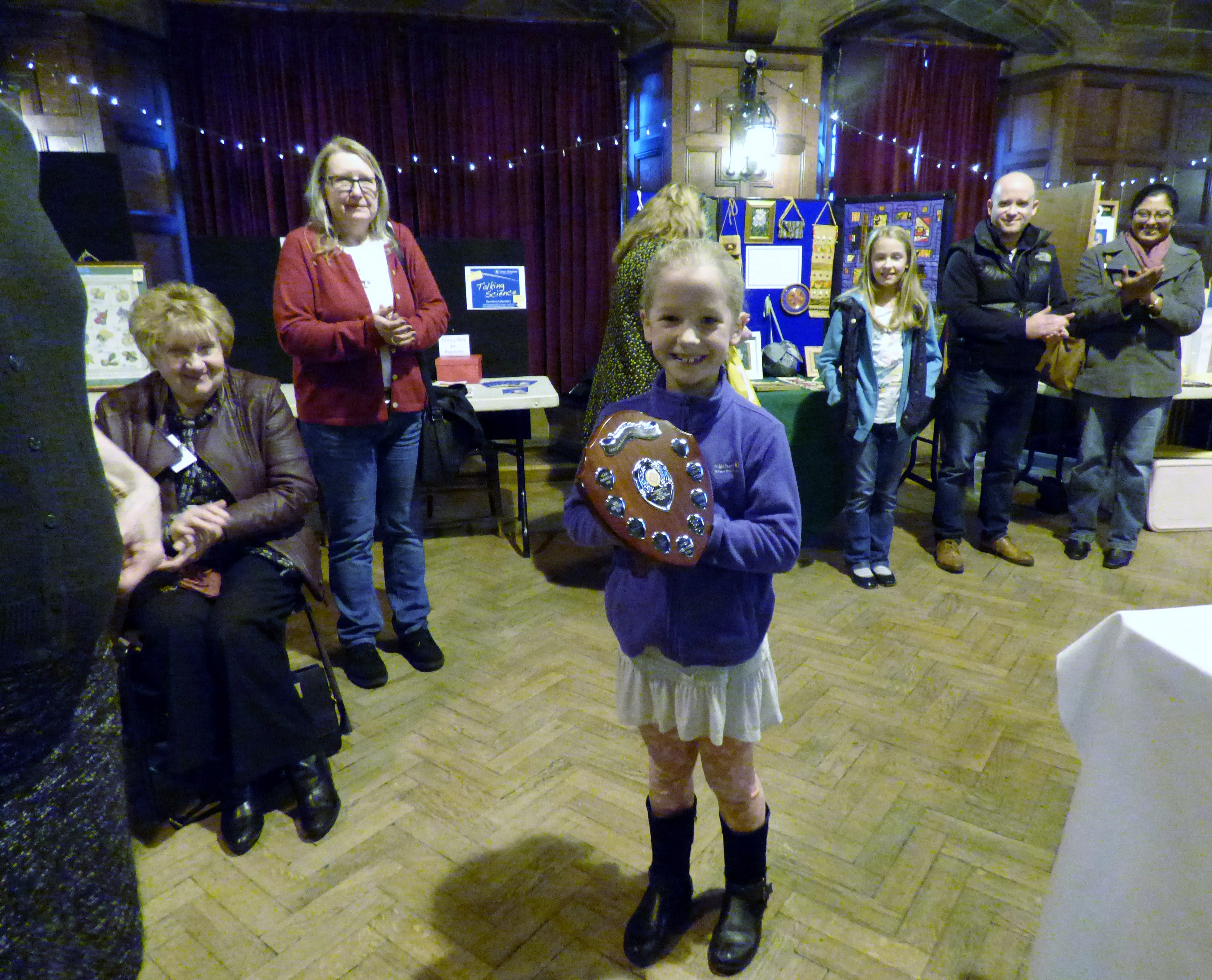 Zoe Lewis won the Sreepur Shield and Cup as Merseyside Young Embroiderer of the year 2016. She was not able to attend so her sisiter Esther accepted the Trophy at MEG Winter Fair 2016