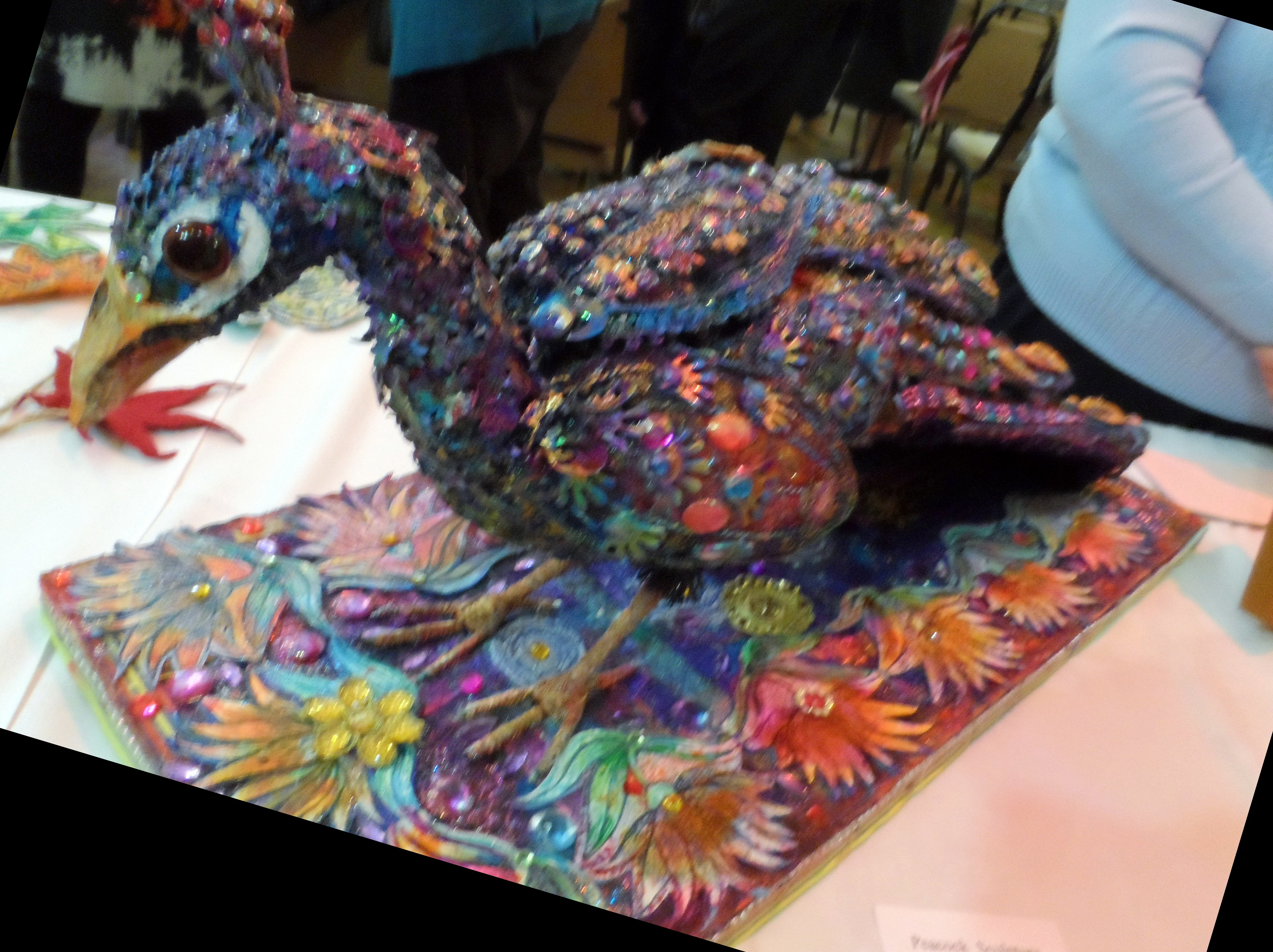 Peacock sculpture by Nikki Paramenter  at NW Regional Day, Leyland 2018