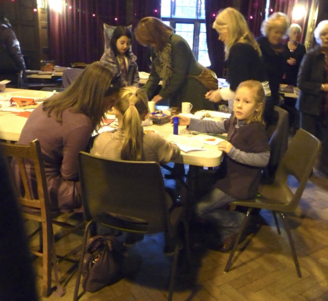 two young embroiderers\' with thier Mum ( a former YE member ) making Christmas cards at Rachel Davis\'s mini Workshop