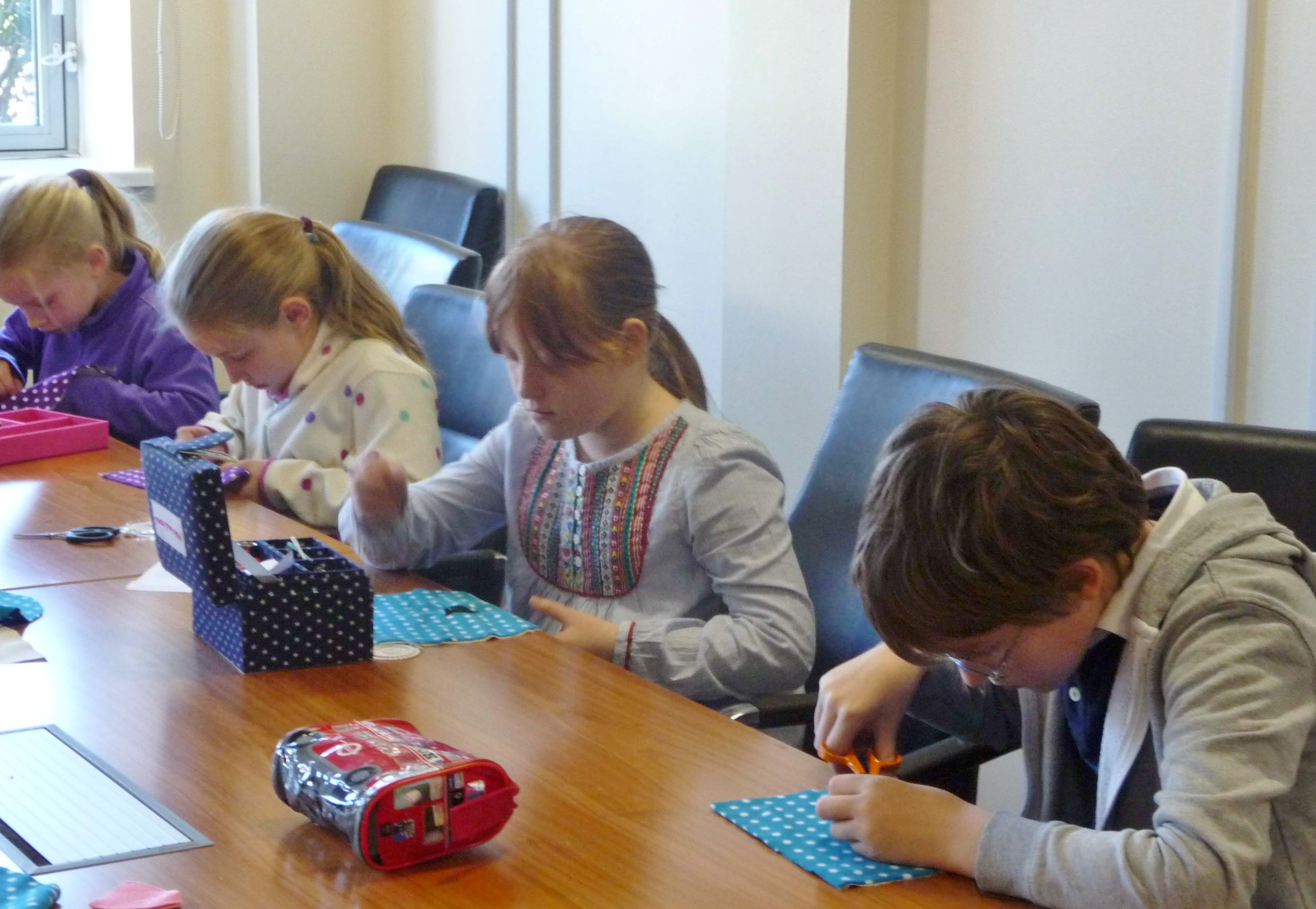 Merseyside YE are making bags with pussy cat faces this month - lots of concentration needed