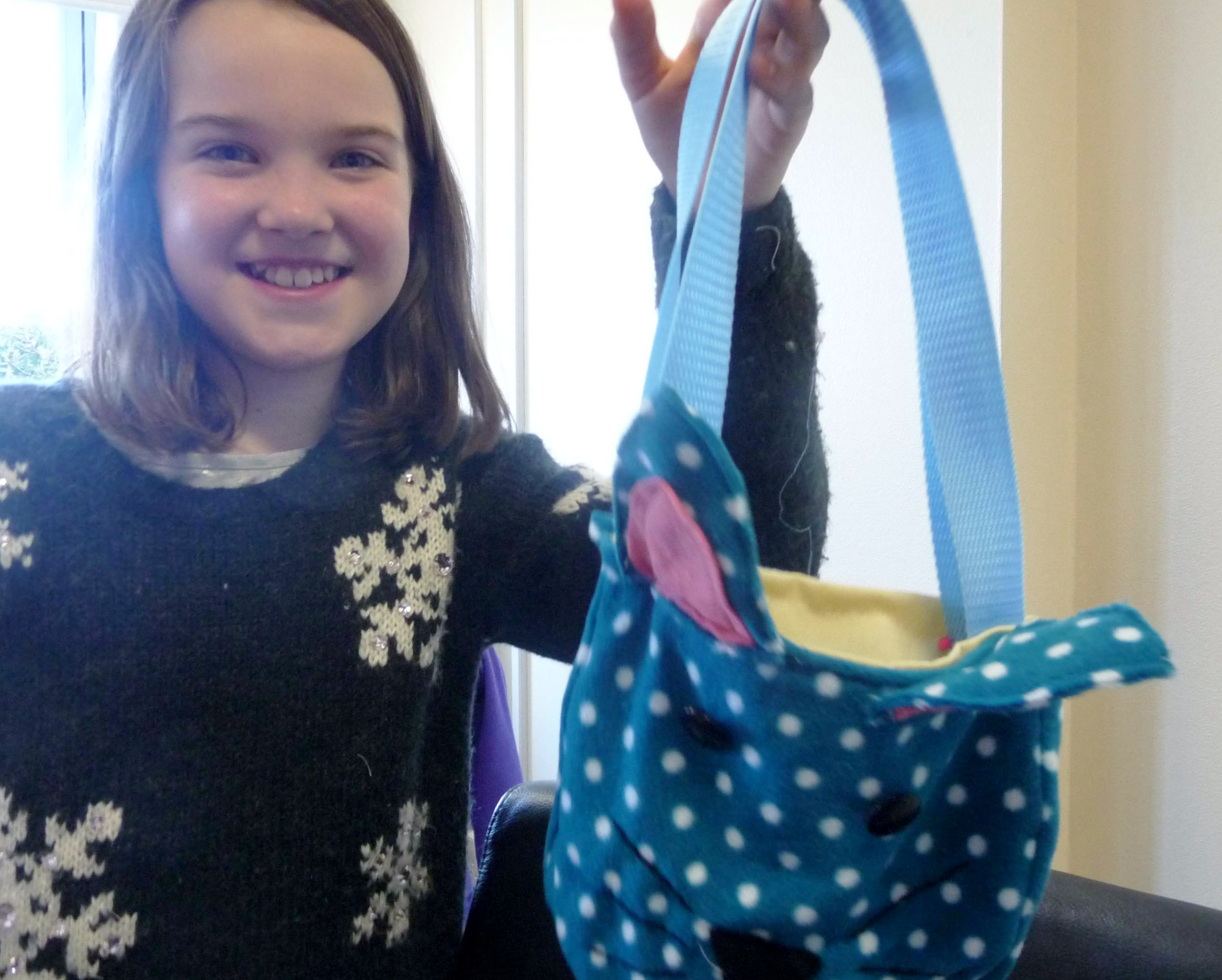 Ruby is very pleased with her completed bag