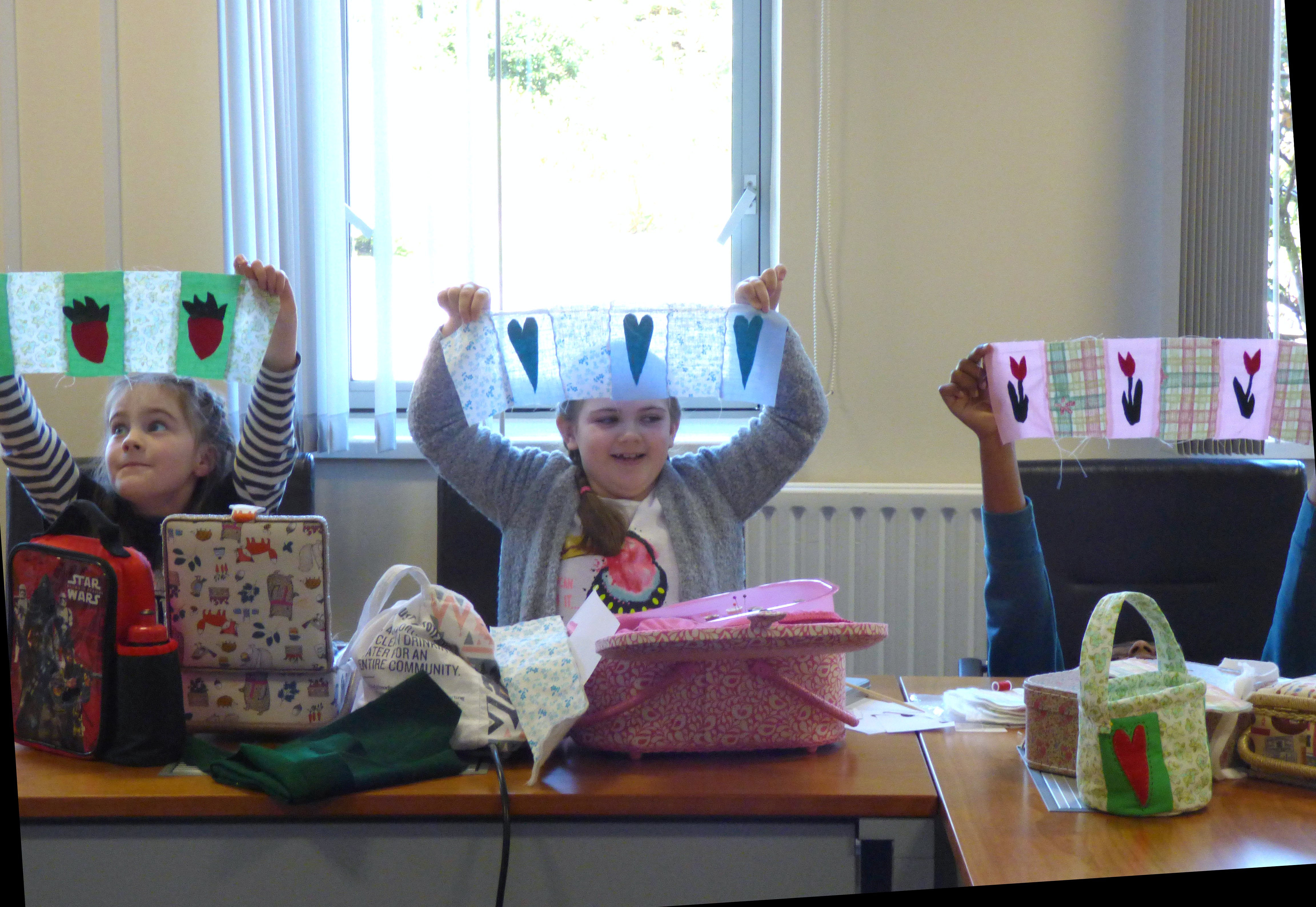some of our YE group April 2017. We have appliqued some designs for the sides of our Easter baskets