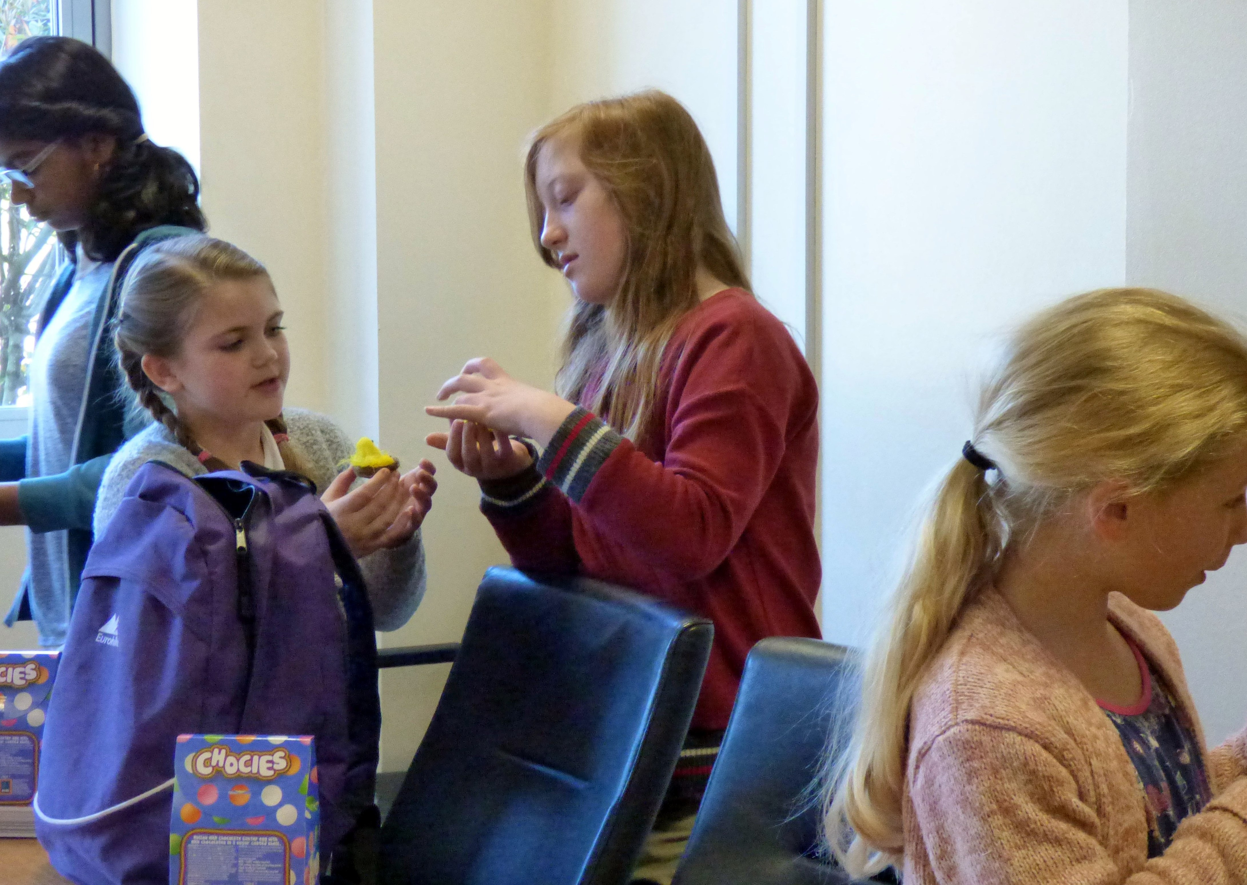 At the end of our workshop we were given Easter eggs and chicks to put in our baskets. YE group April 2017