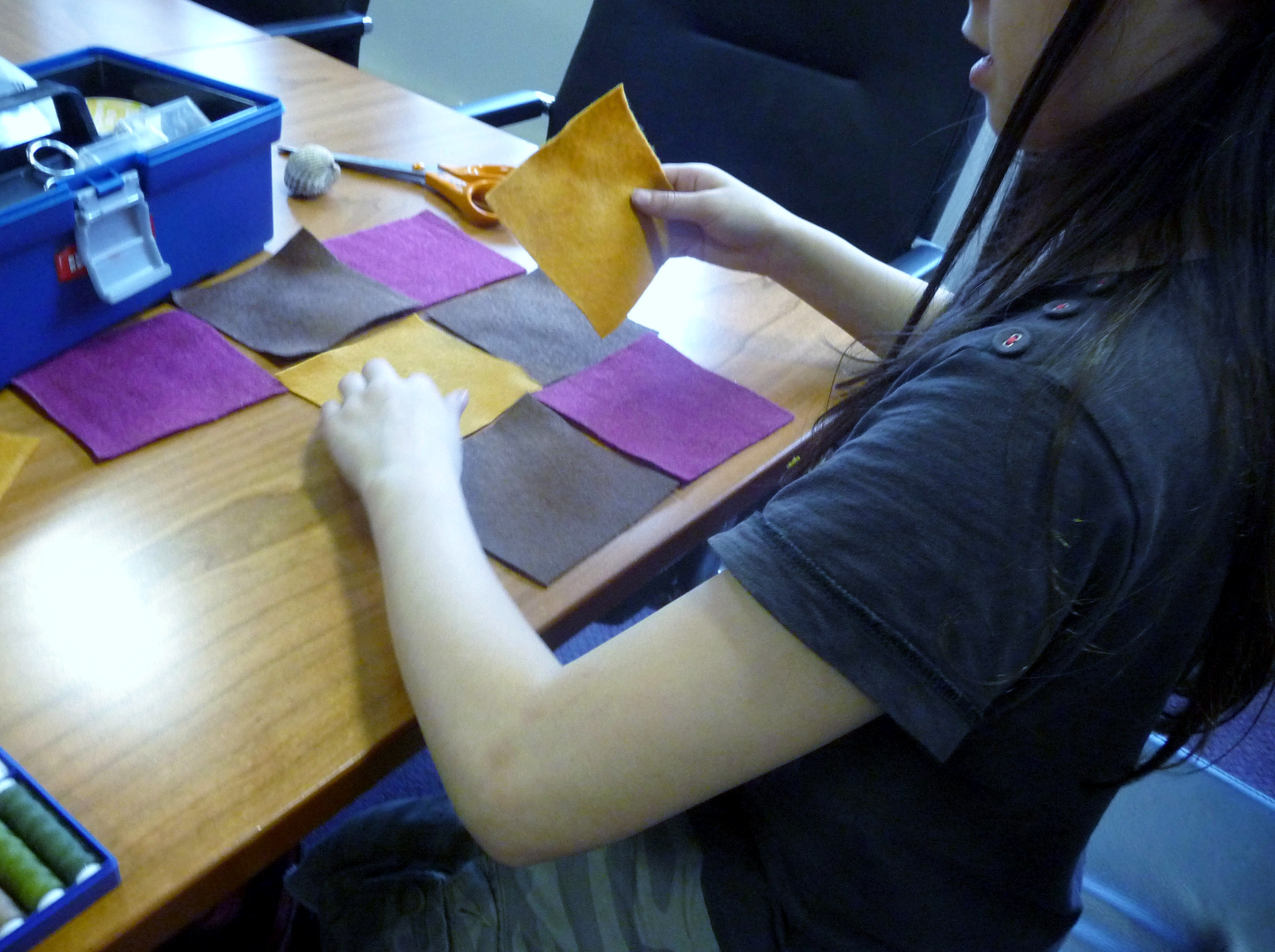 first we cut out the felt squares and arranged them to form the background