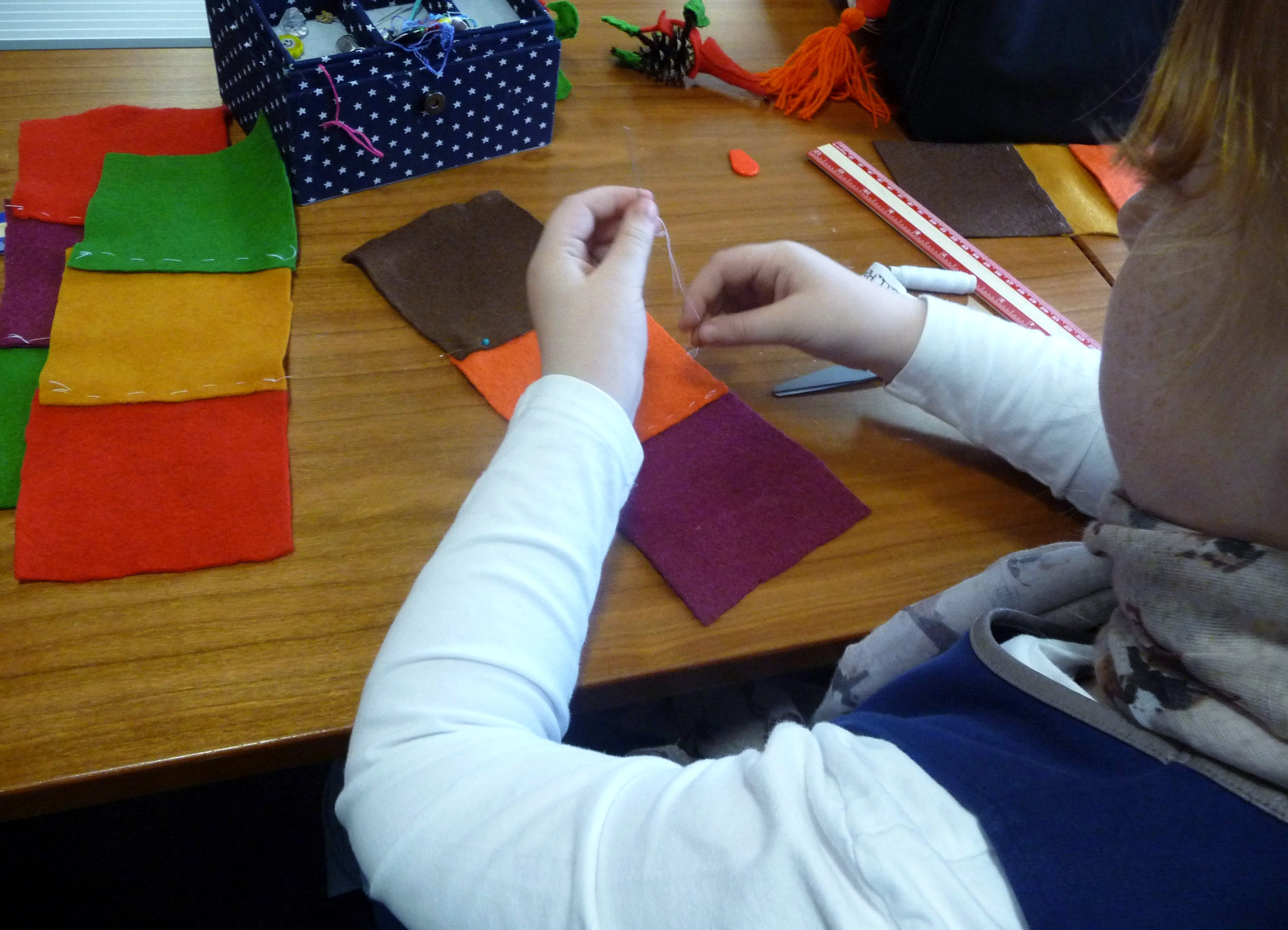 then we overlapped each square and tacked the squares together in rows