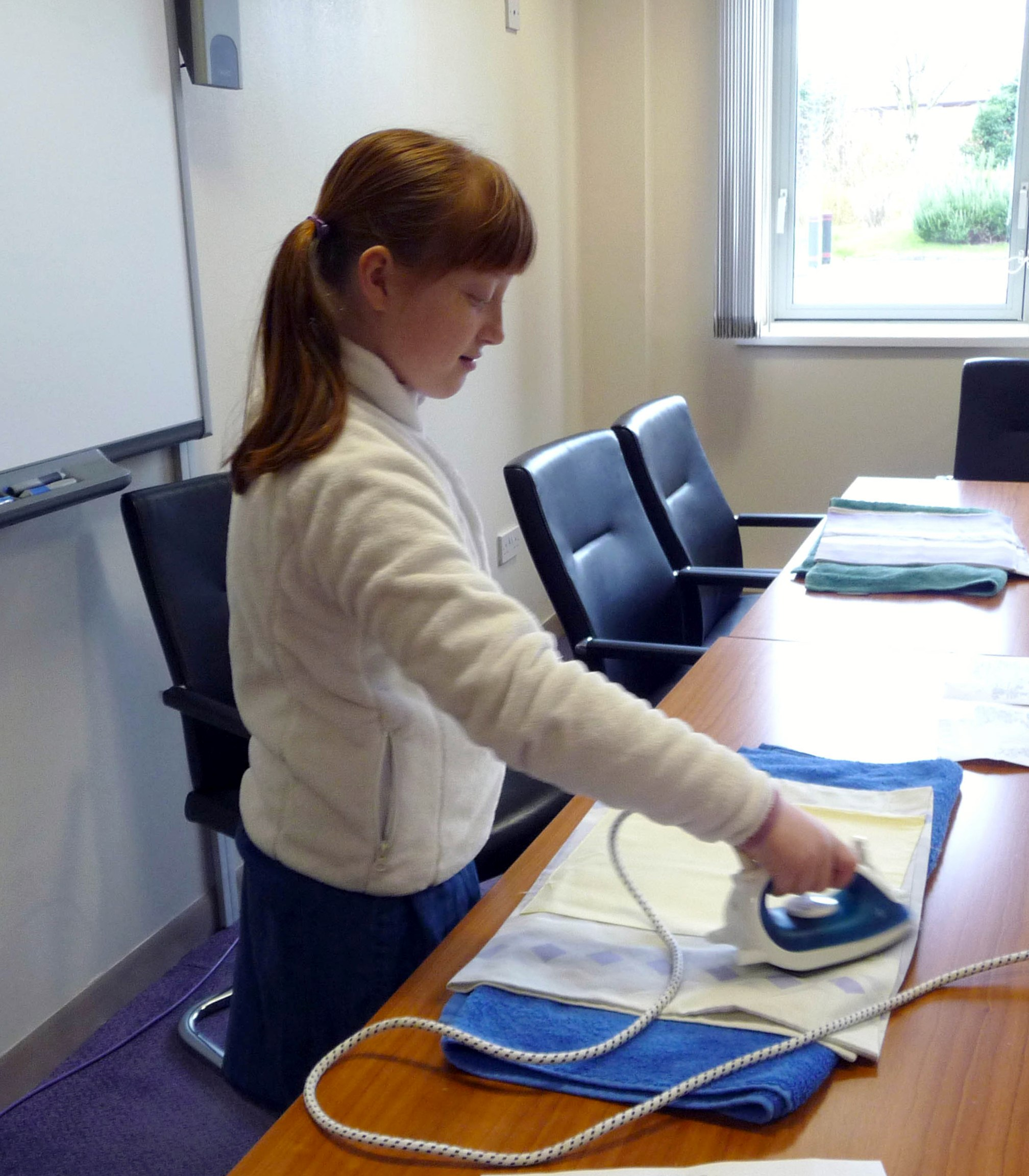 Merseyside YE- Ailis is ironing her embroidery fabric