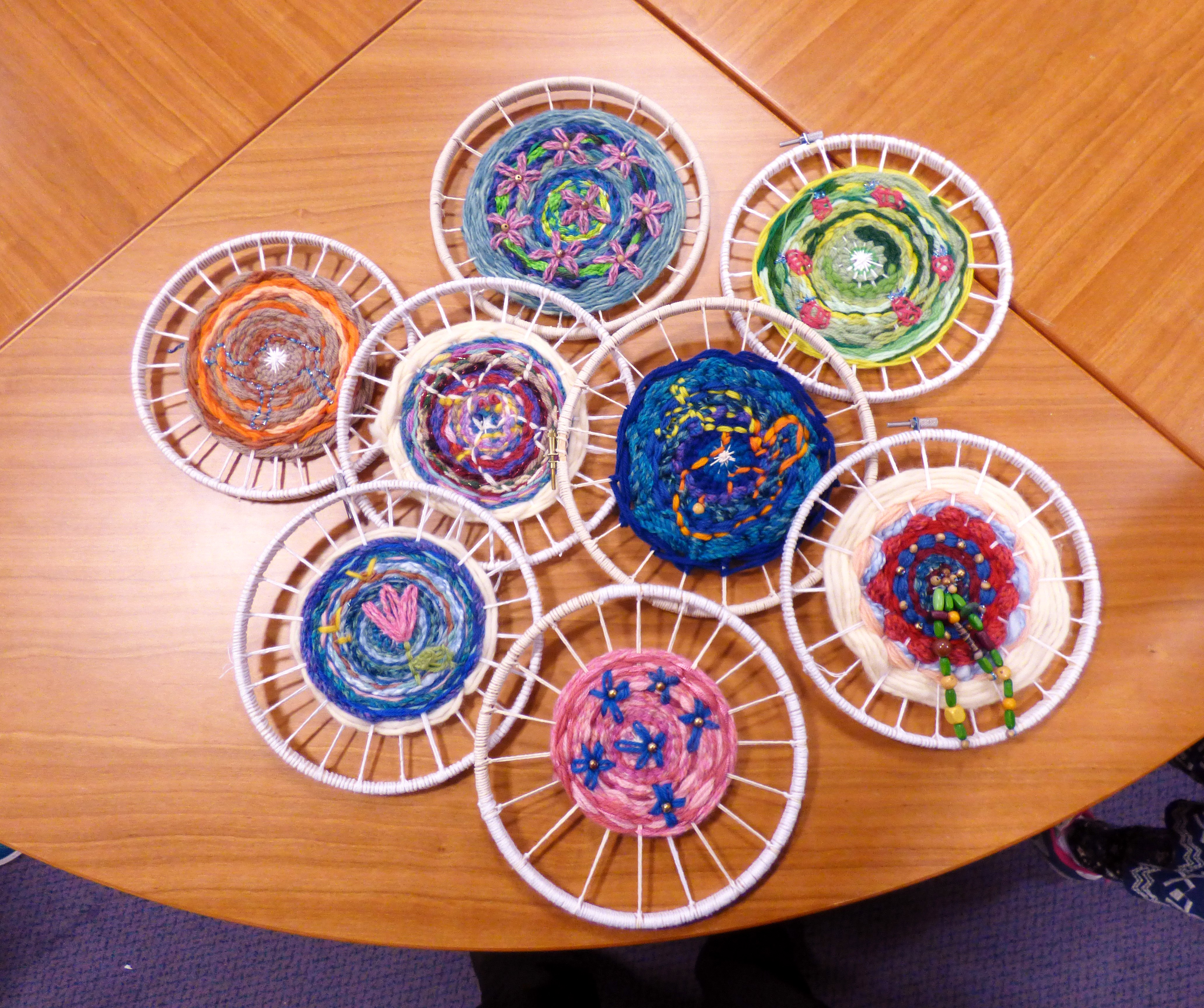 YE group are making a circular weaving with added embroidery