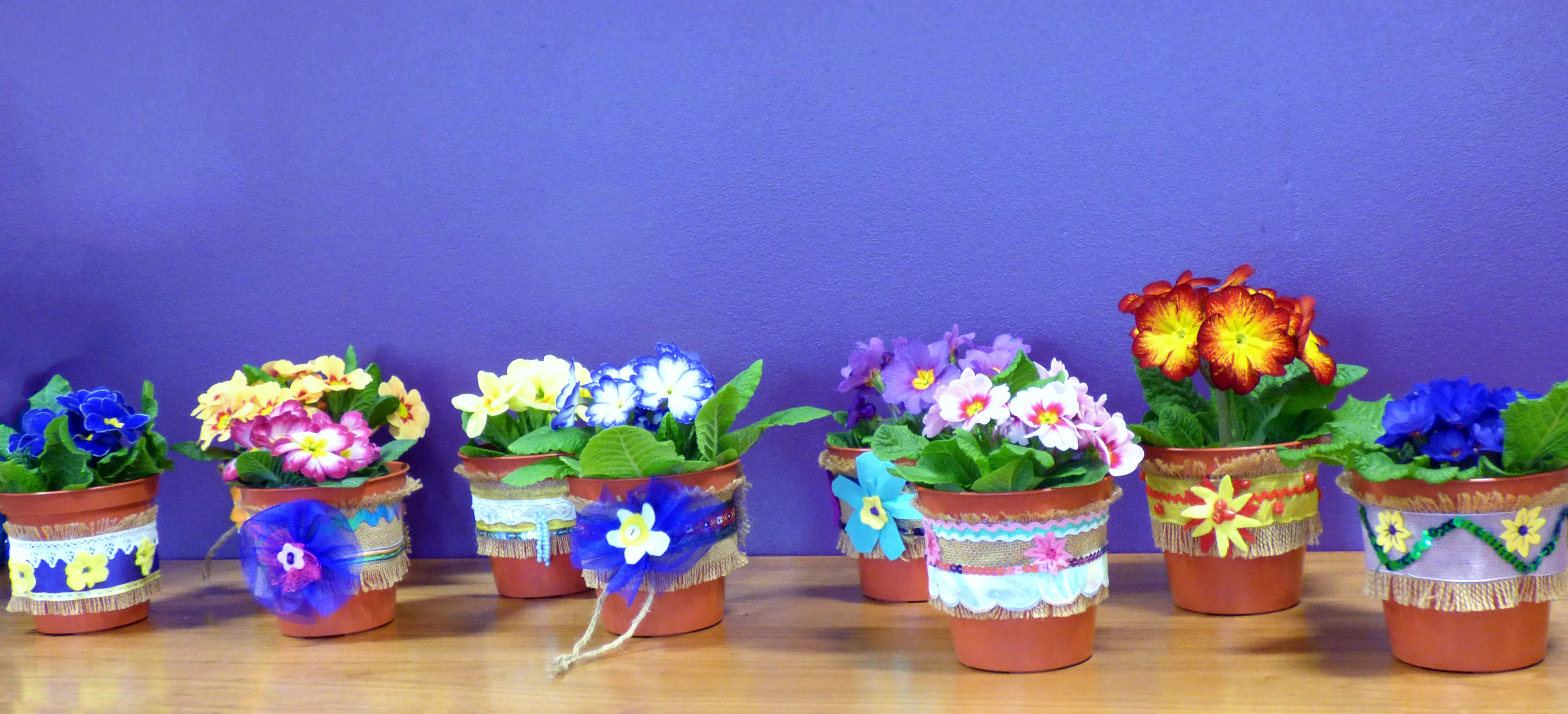 YE made decorated plant pot bands for Mother's Day