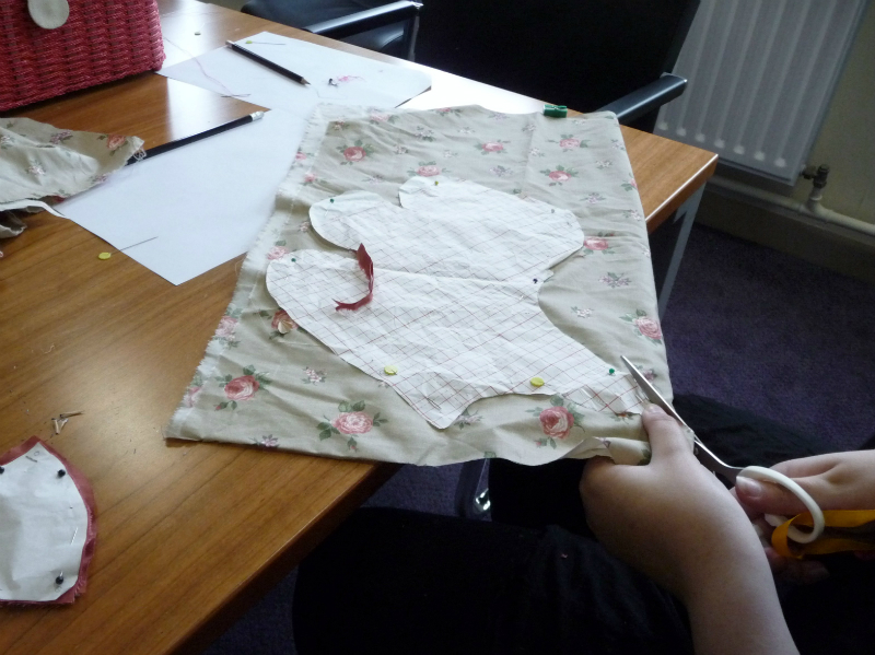 cutting out the dog pattern