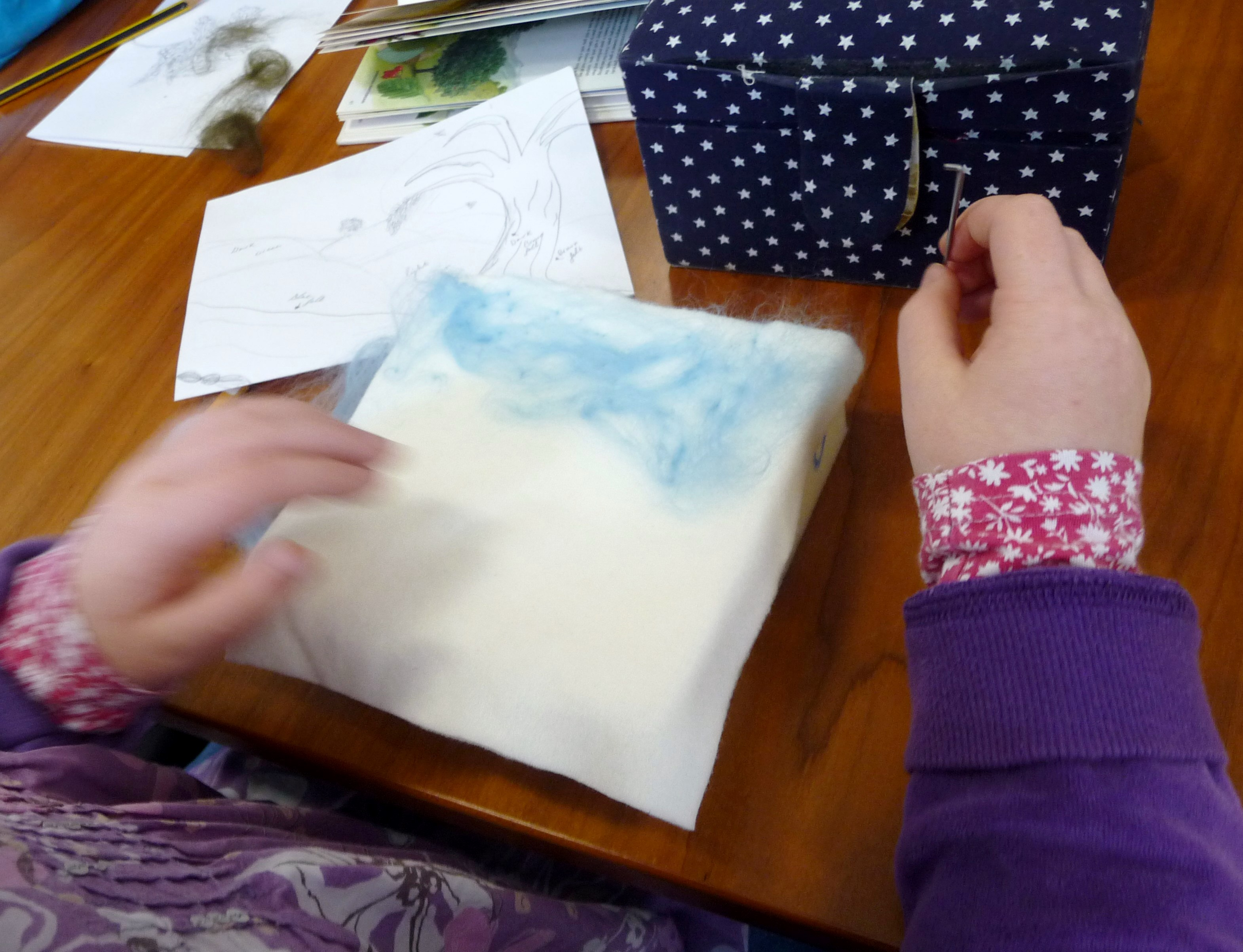 we were making needlefelted landscapes