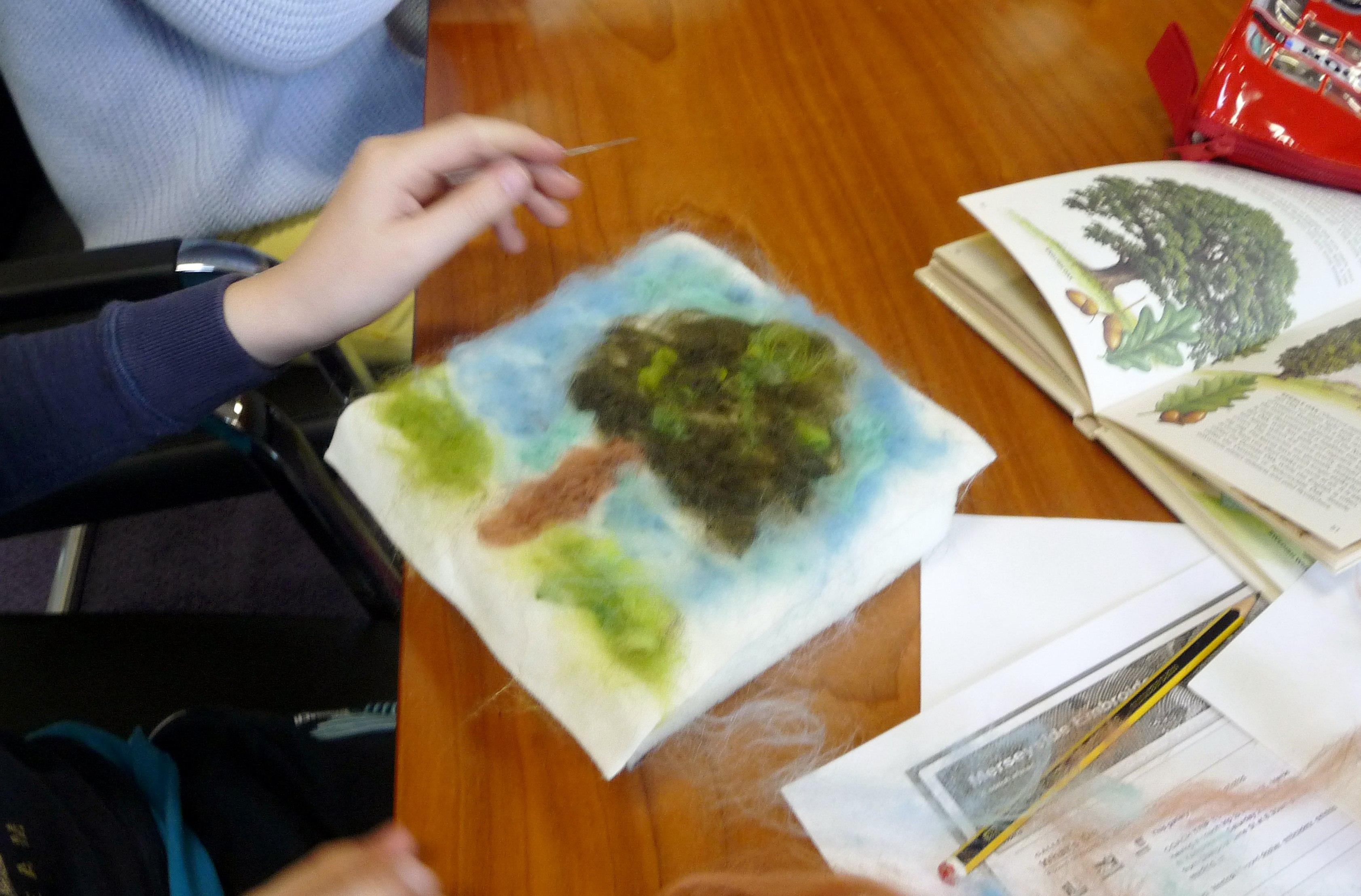 Merseyside YE were making needlefelted landscapes