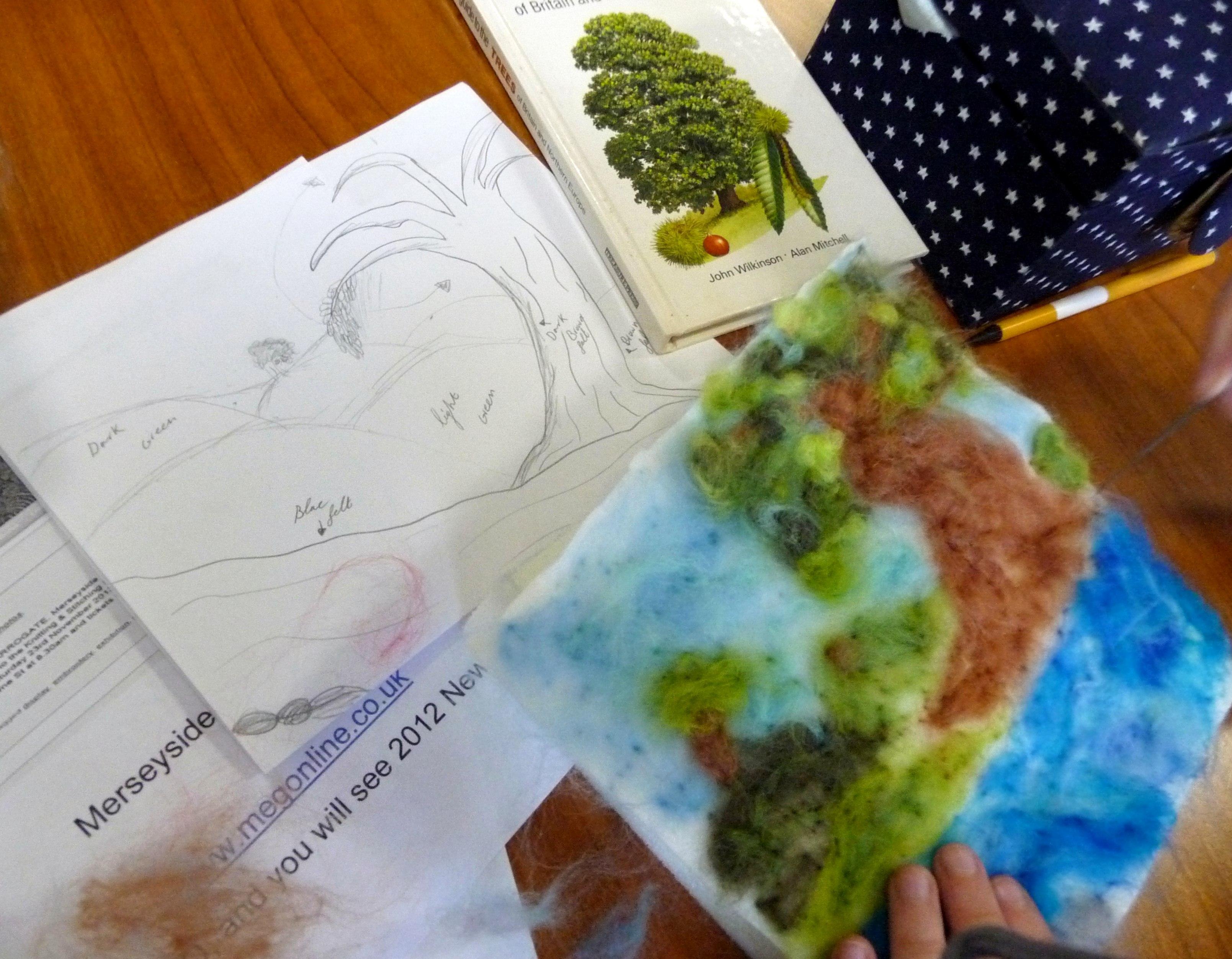 each YE member drew a plan of their landscape before needlefelting