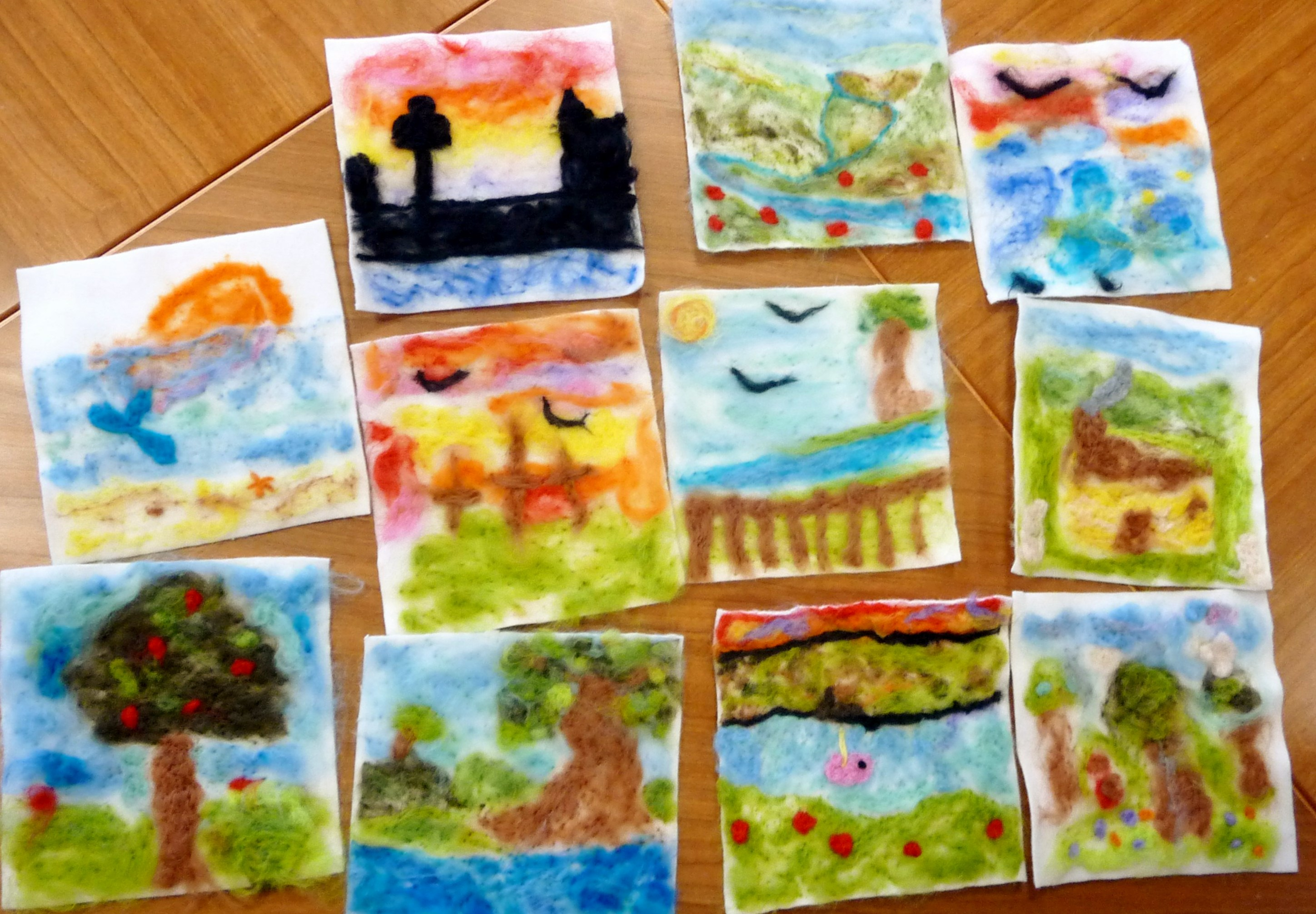 Merseyside YE made needlfelted landscapes and seascapes this month. Here you see their pictures after needlefelting and before the final embroidery has been added