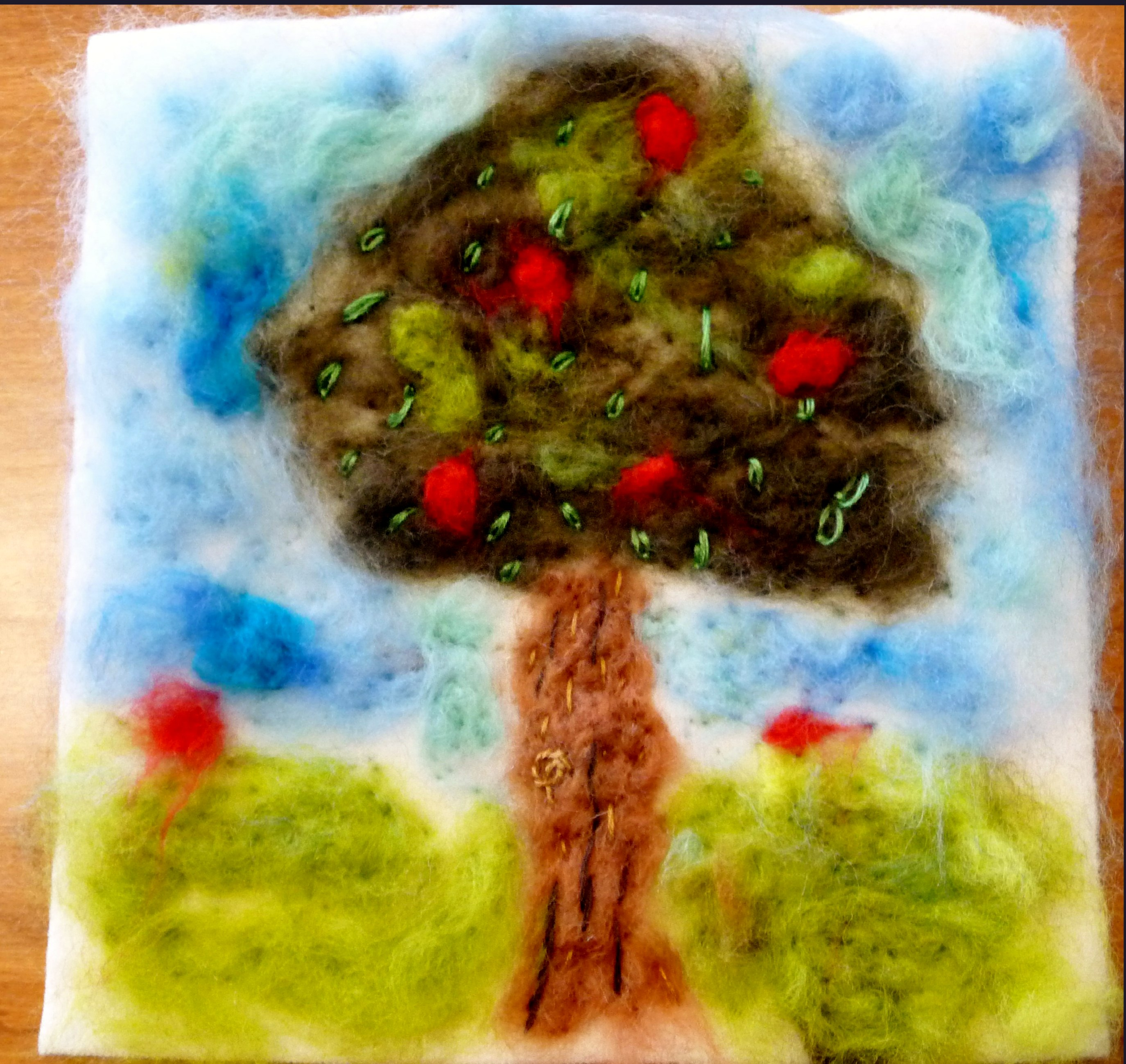 YE group May 2015. This is Fionn's completed needlefelted landscape