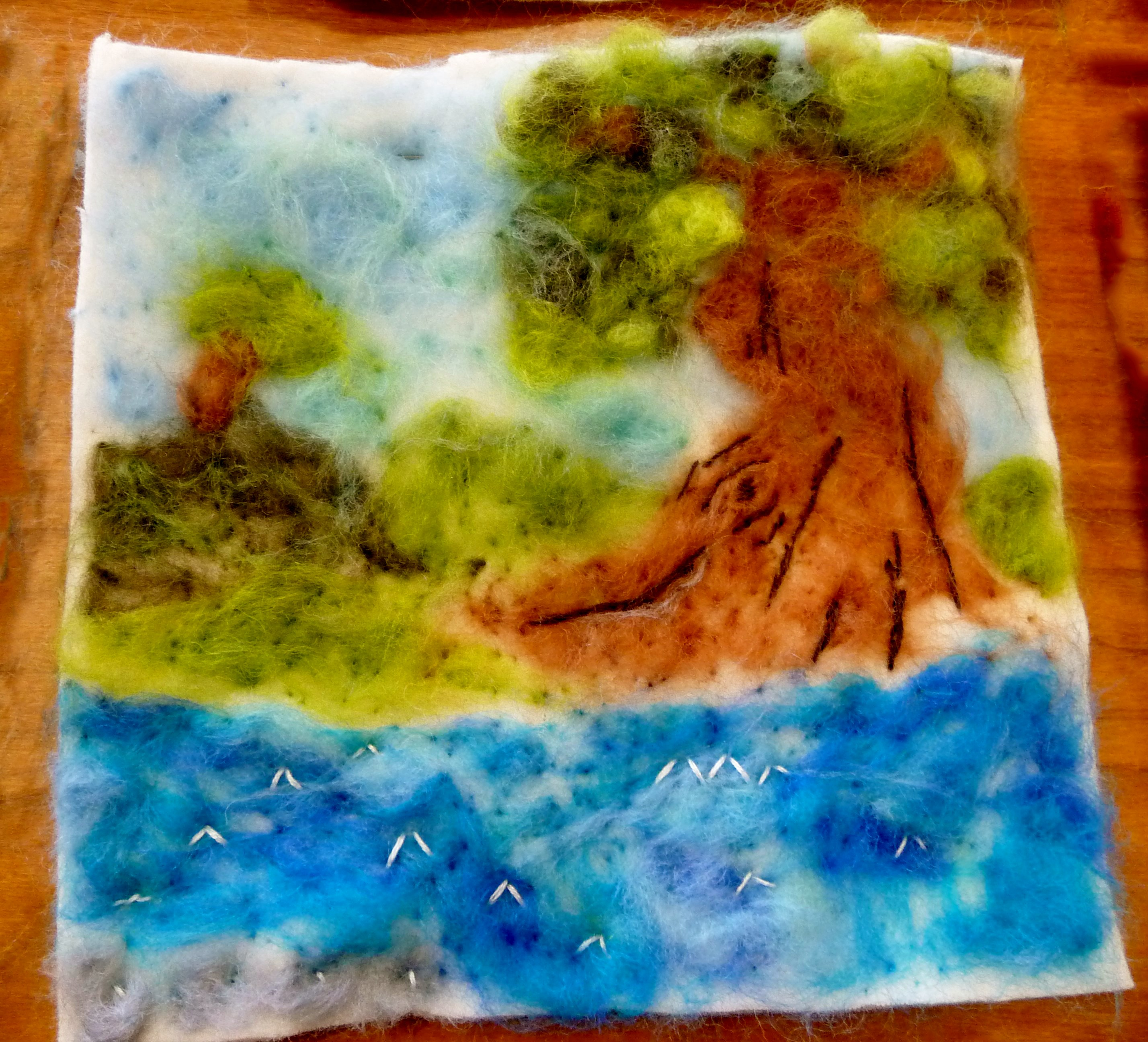YE group May 2015. This is Ailis's completed needlefelted landscape