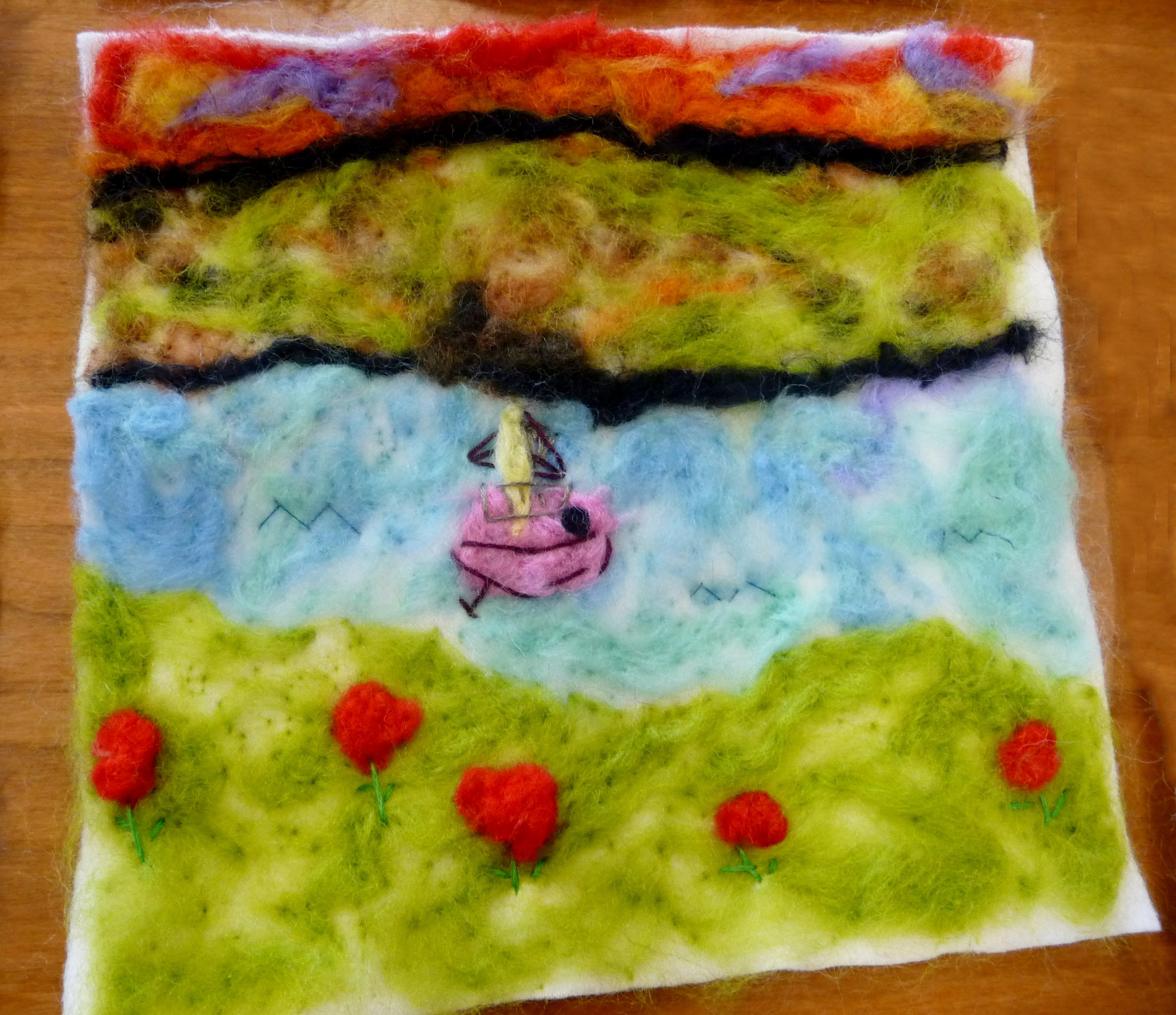 YE group May 2015. This is Emma Lewis's completed needlefelted landscape