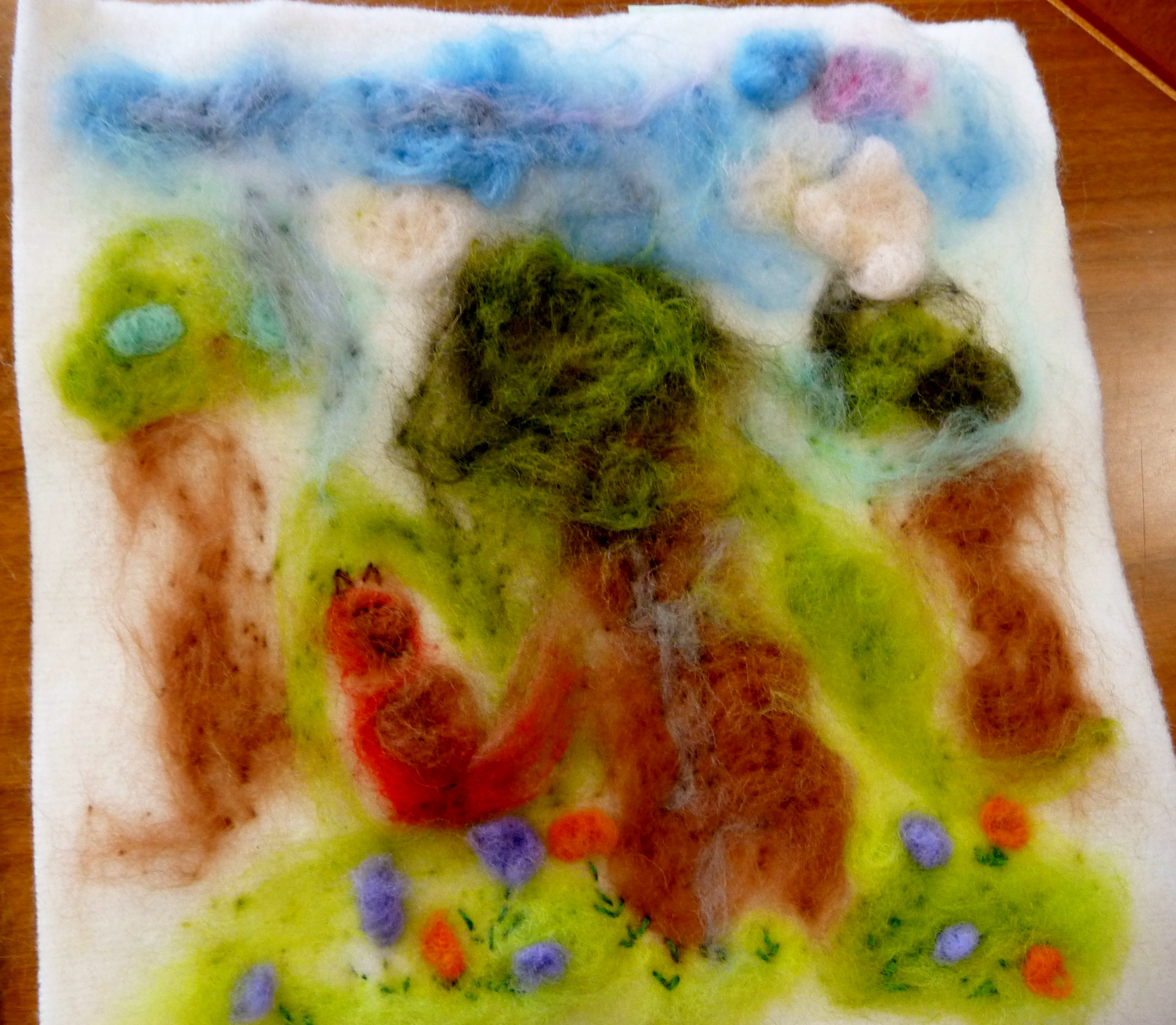 YE group May 2015. This is Esther's completed needlefelted landscape