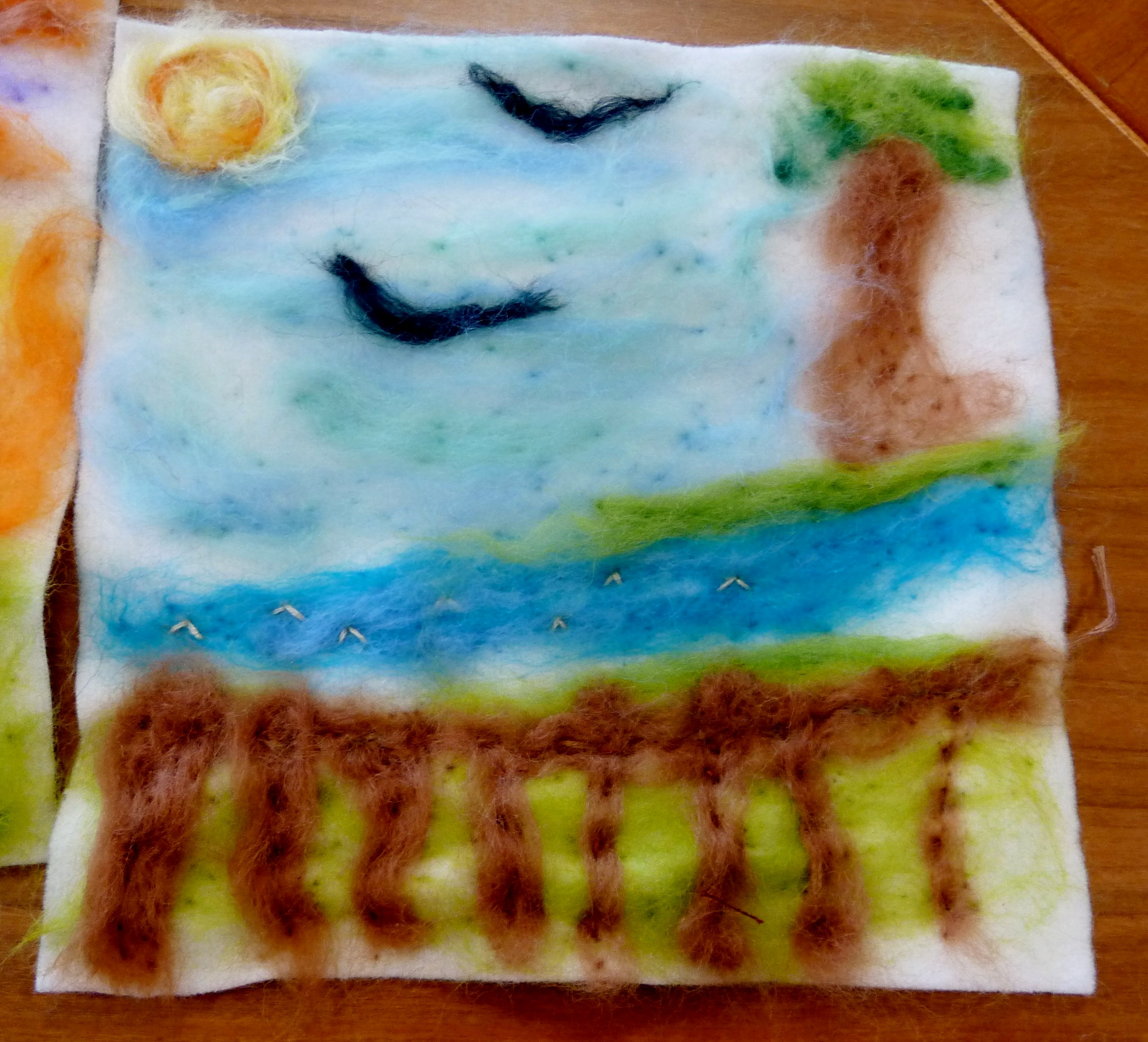 YE group May 2015. This is Zoe U's completed needlefelted seascape