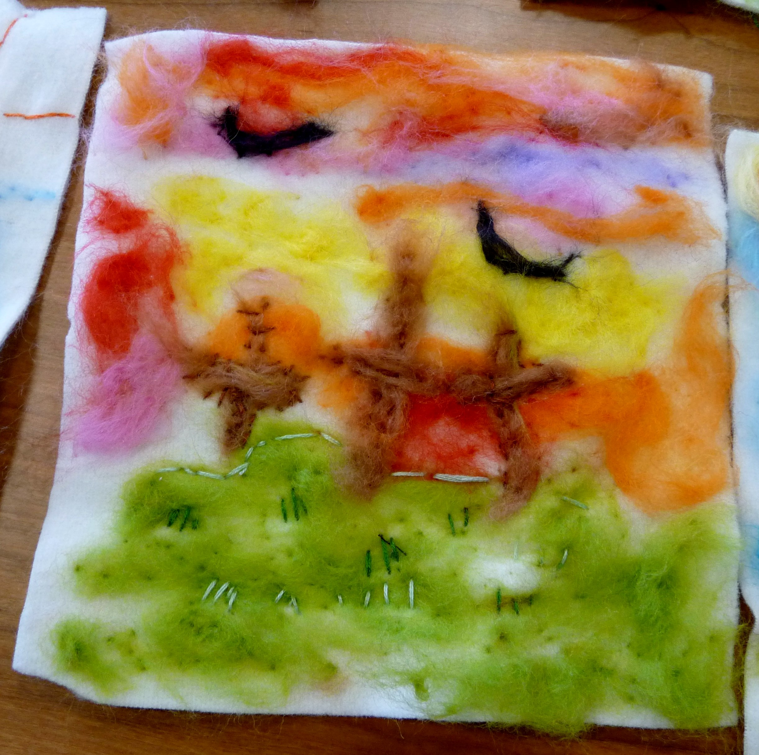 YE group May 2015. This is Grace's completed needlefelted landscape