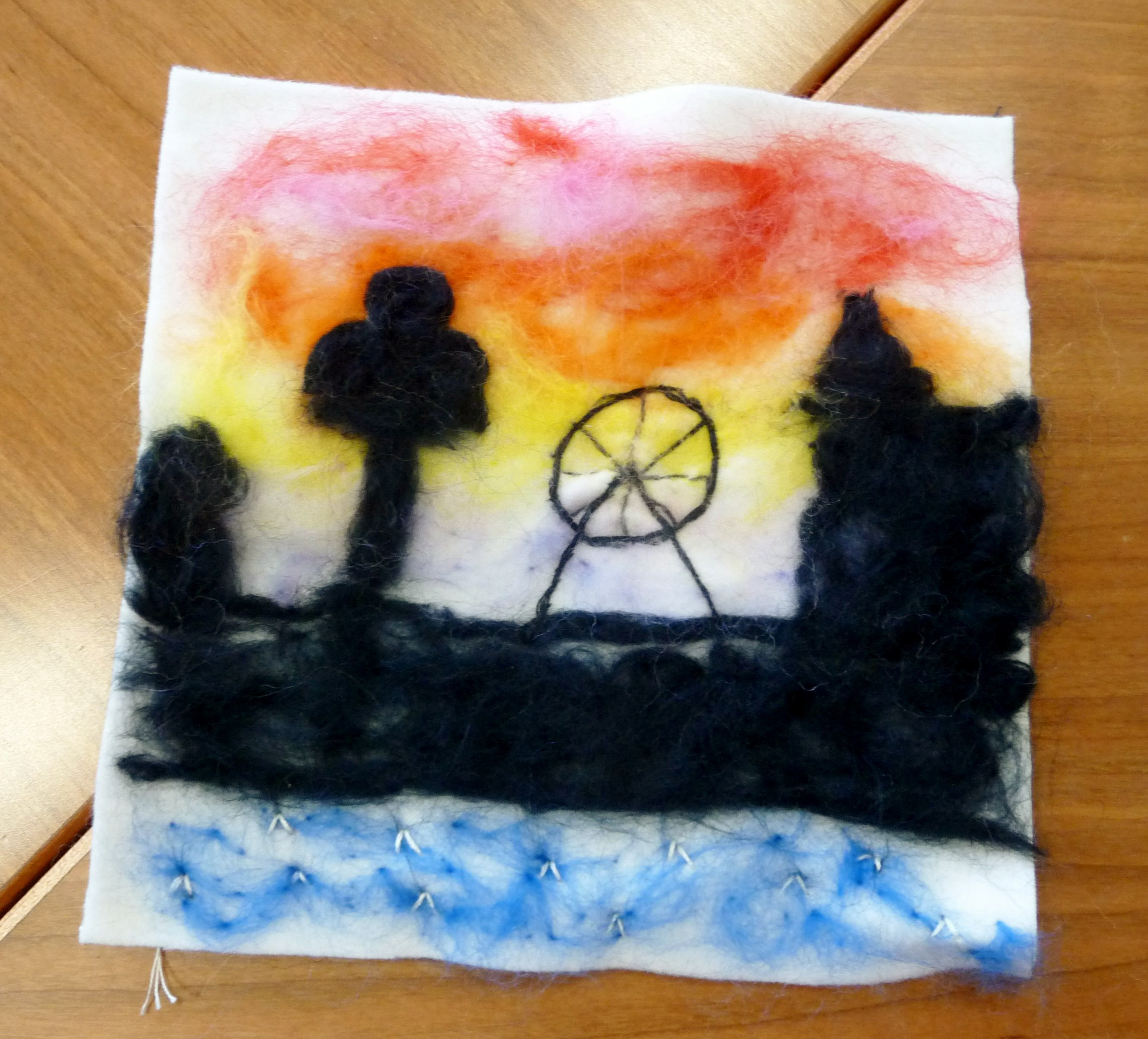 YE group May 2015. This is Zoe L's completed needlefelted landscape