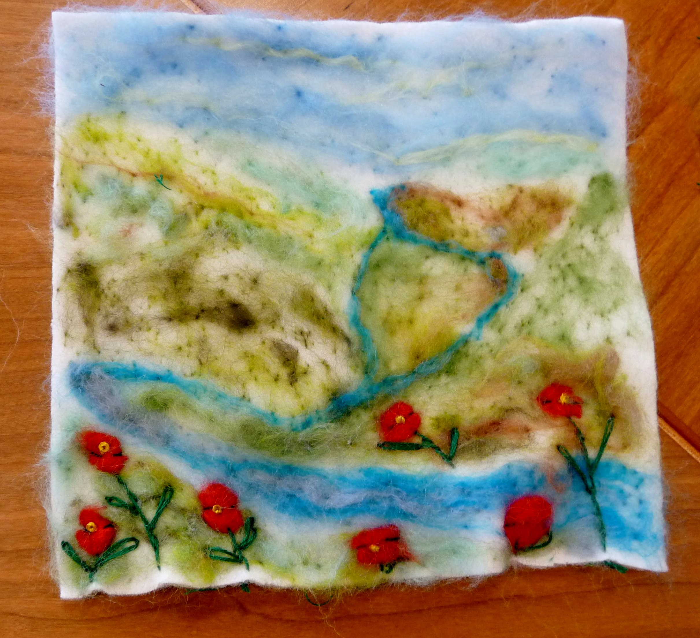 YE group May 2015. This is Chloe's completed needlefelted landscape