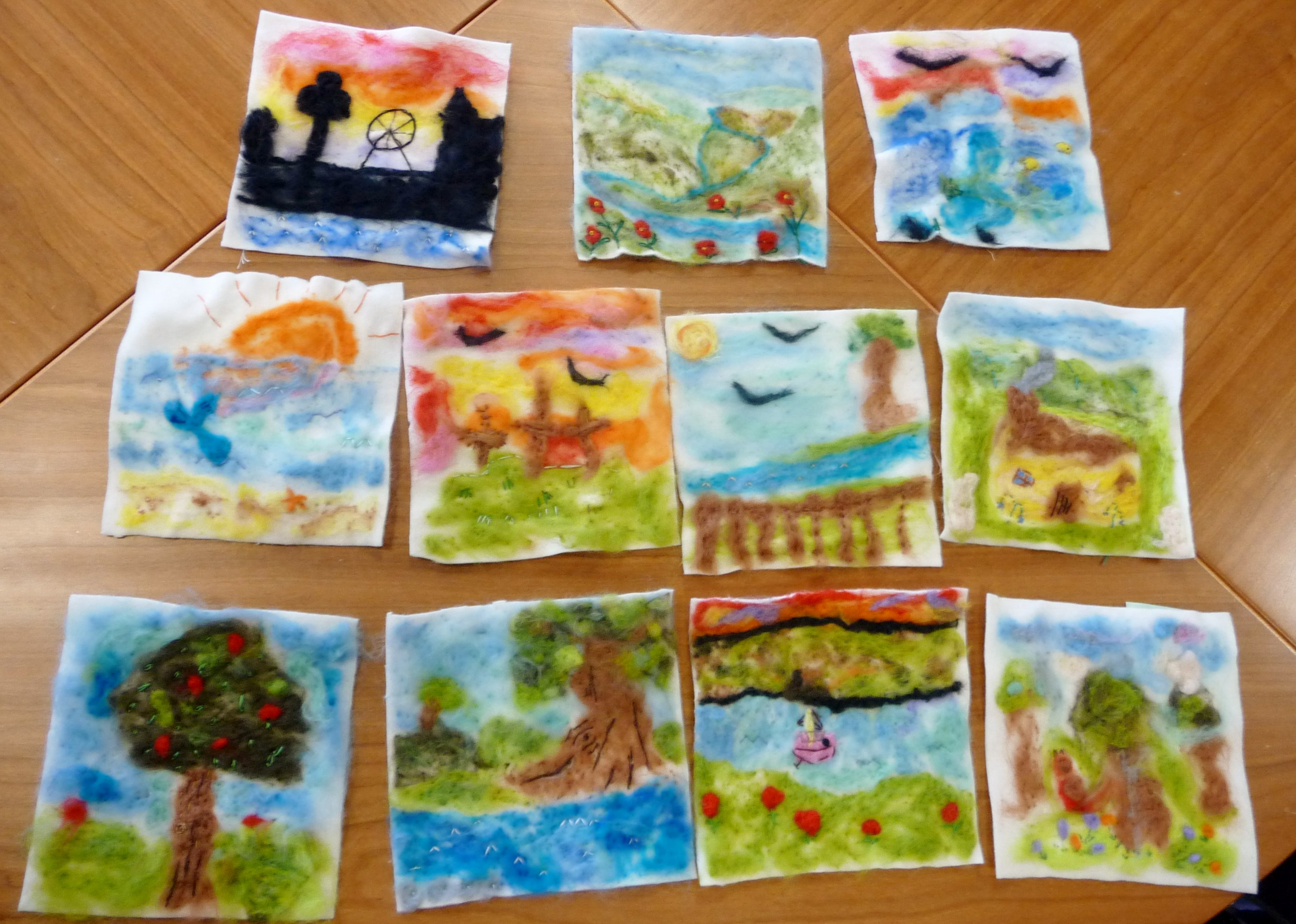 Merseyside YE made needlfelted landscapes and seascapes this month. Here you see their completed pictures with the final embroidery added