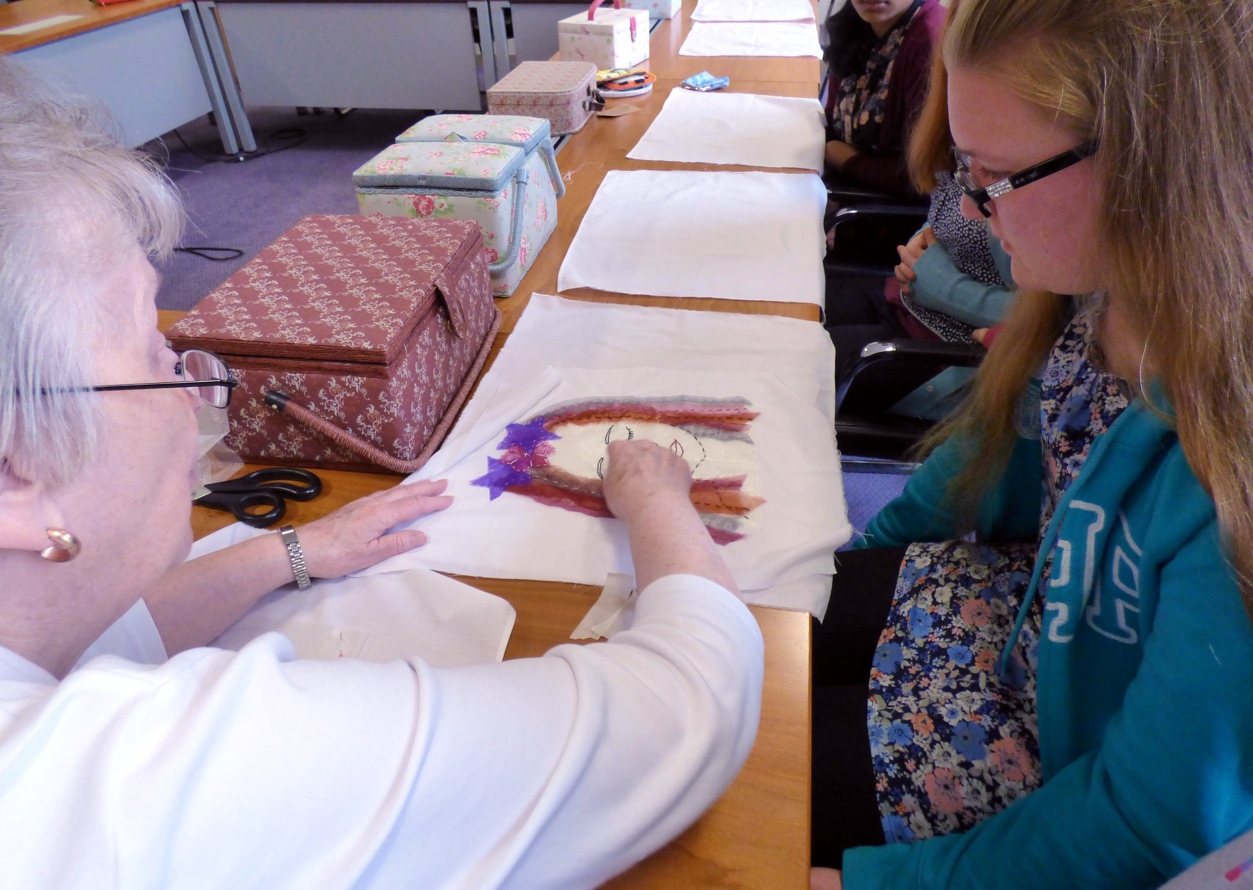 Val Heron is showing our YE group how to make this embroidery