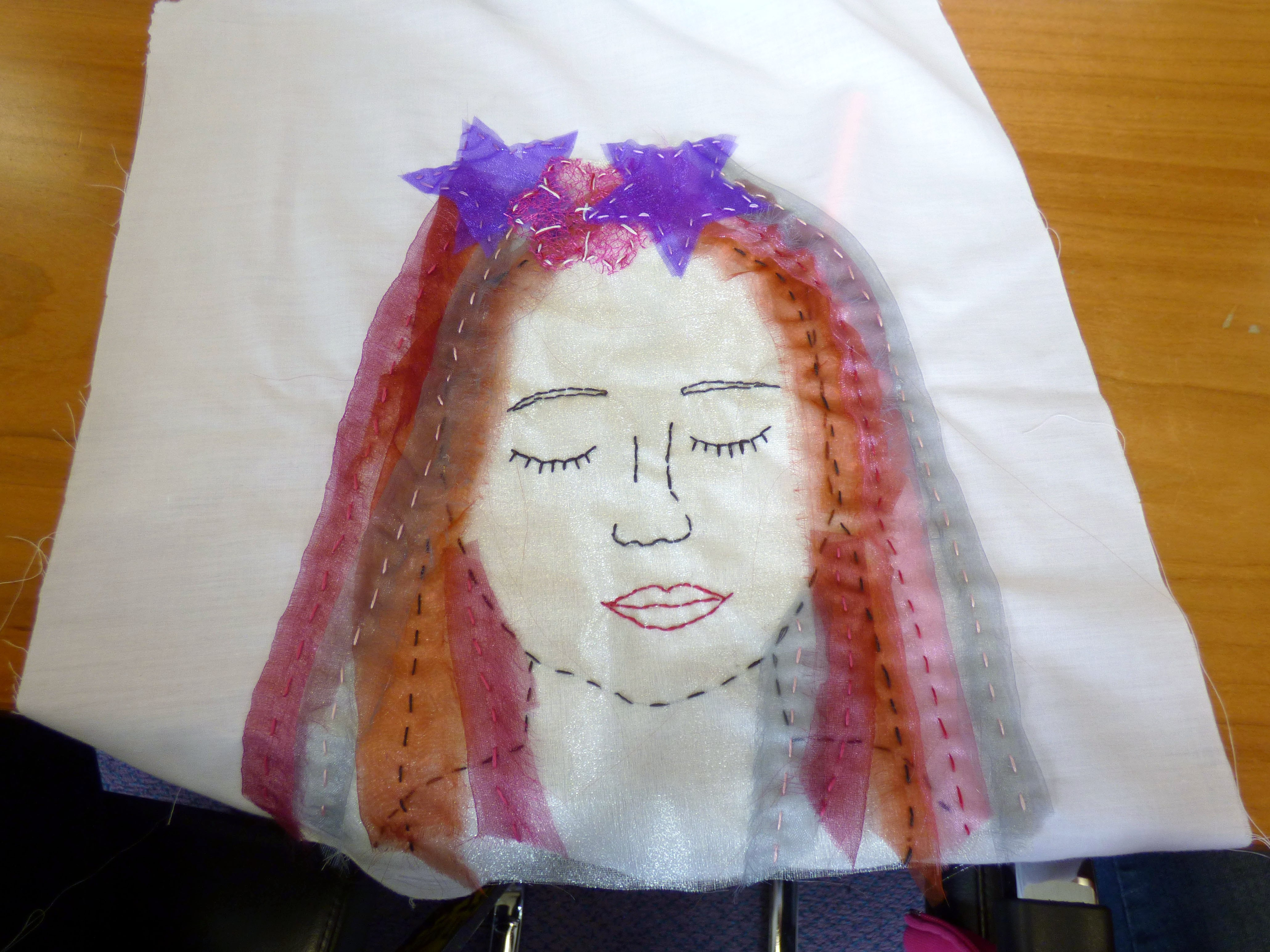 This is a sample of today's embroidery at Merseyside YE
