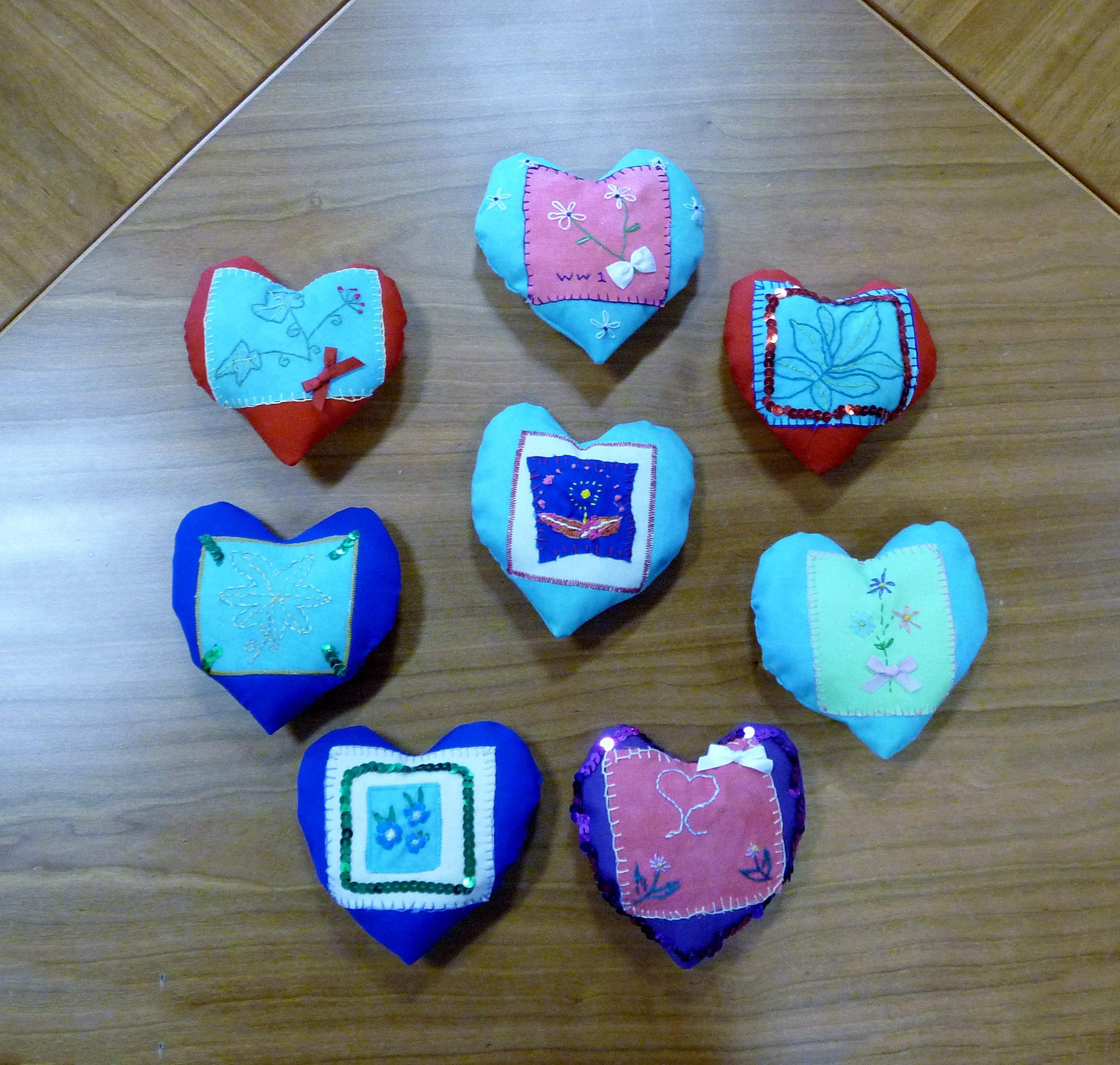 """Completed """"Sweetheart Pincushions"""" made by Merseyside YE for Up for Crafts to commemorate WW1"""