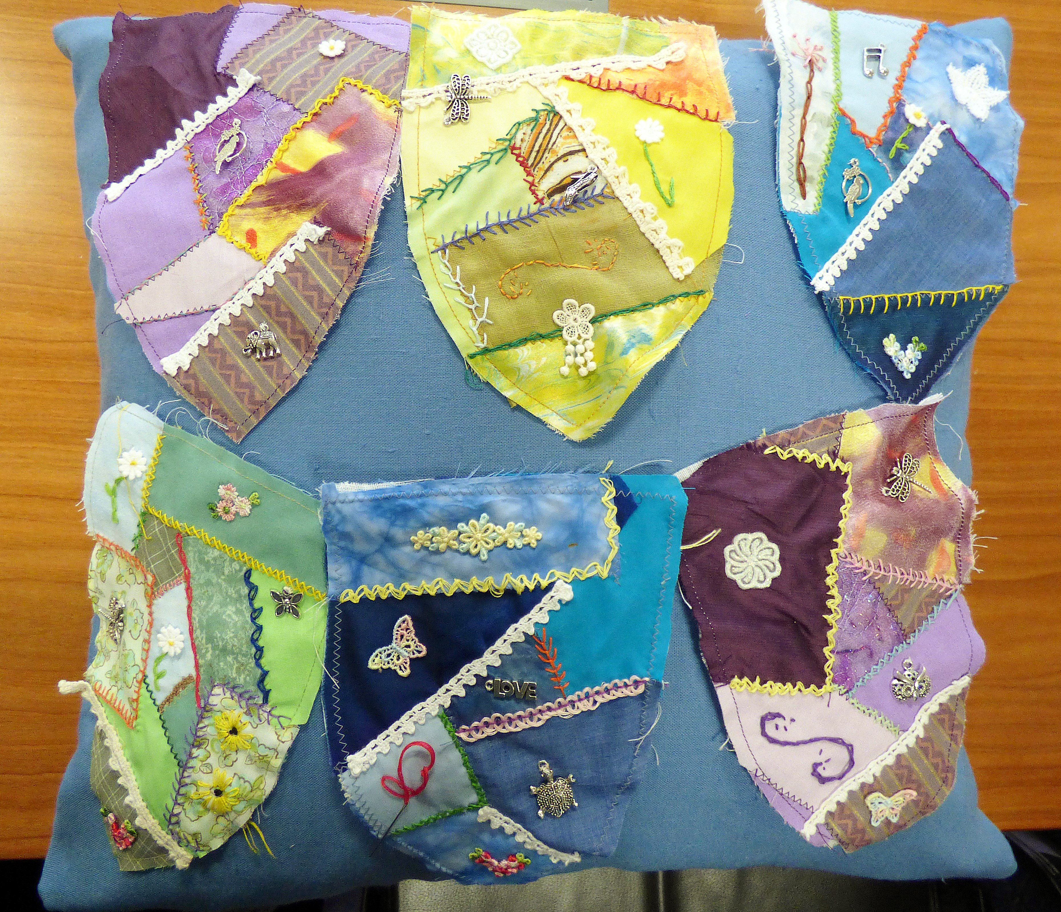 these are some of the crazy patchwork bag fronts we made at YE group, Nov 2016