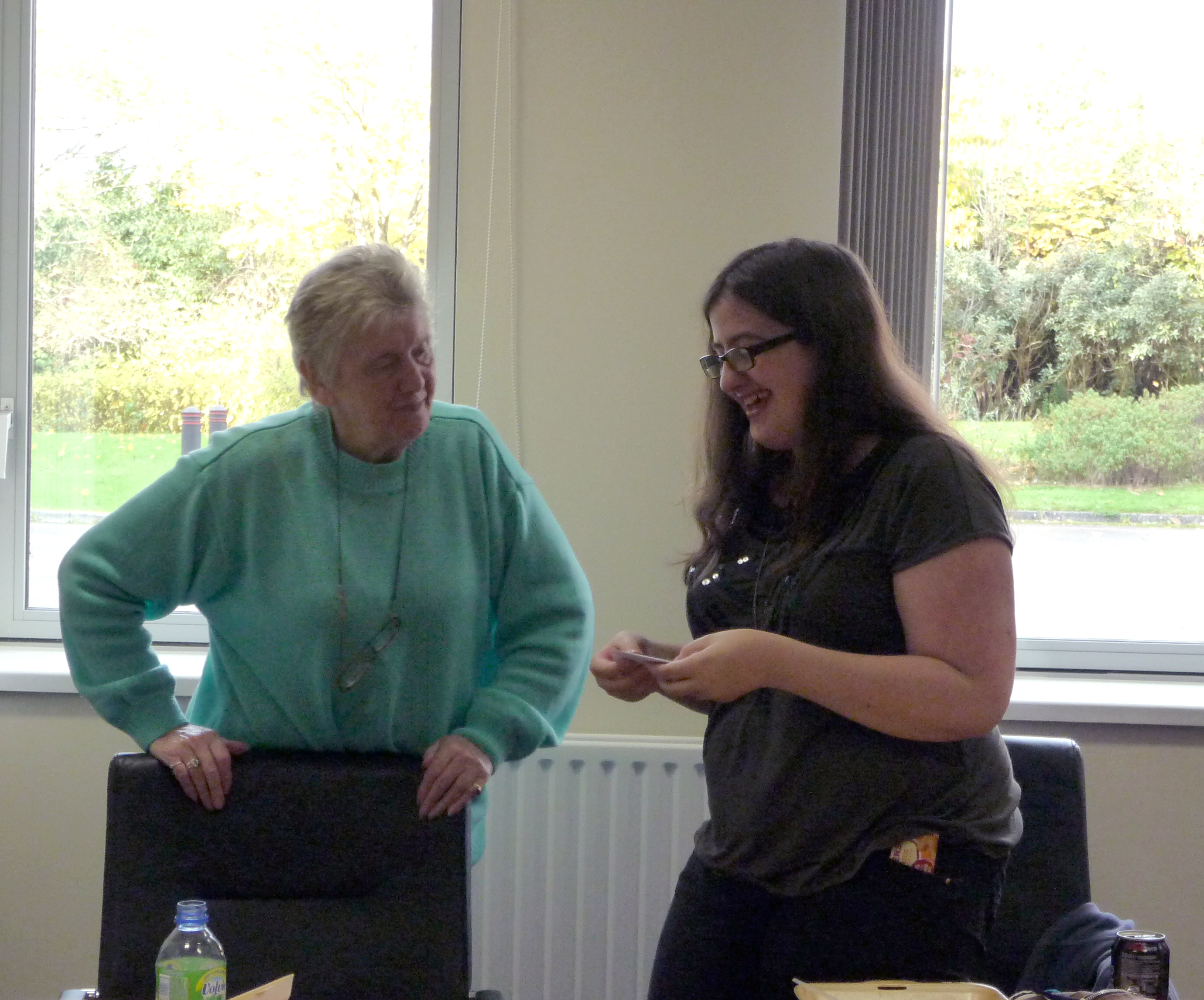This is Sophie's last meeting as a Young Embroiderer, Val presented her with a leaving gift