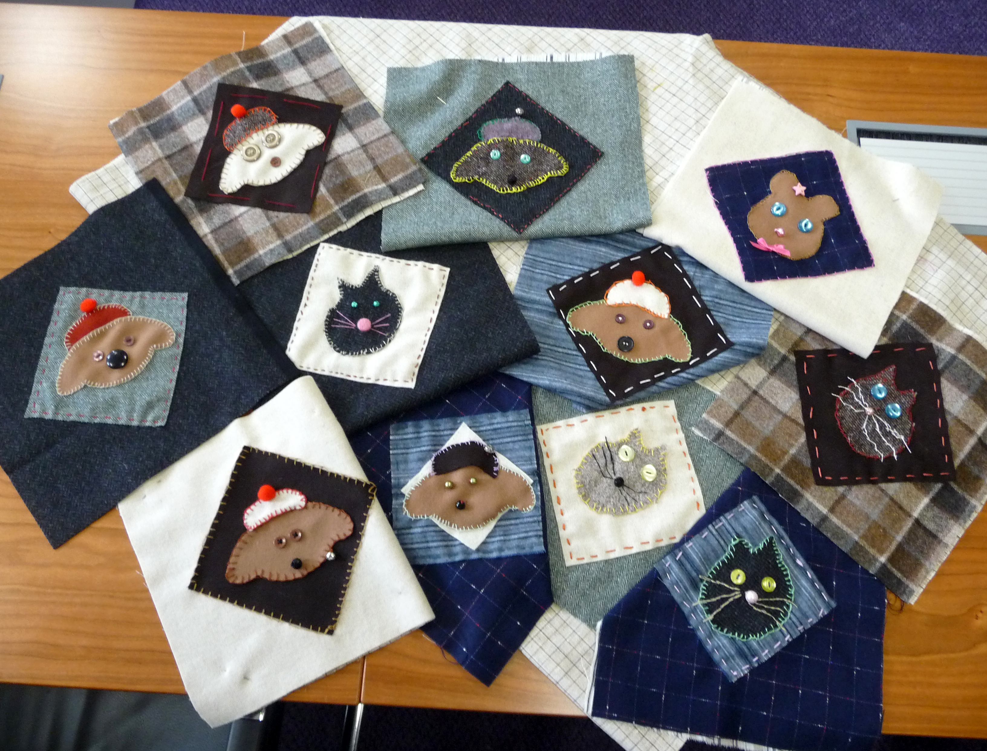 Lots of tweed animals at the end of the session, ready to be made into cushions