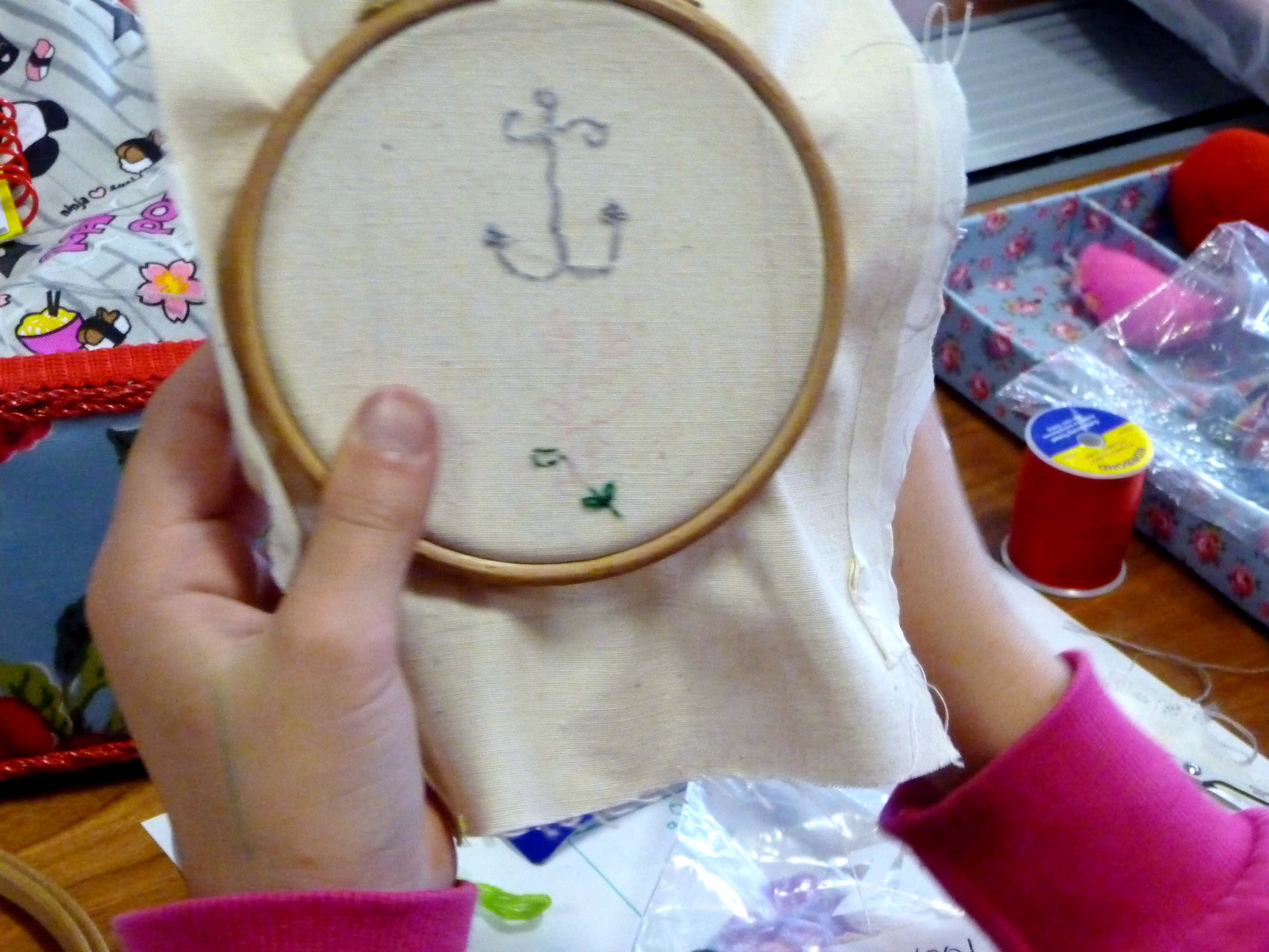 Hope has started to work on her embroidery