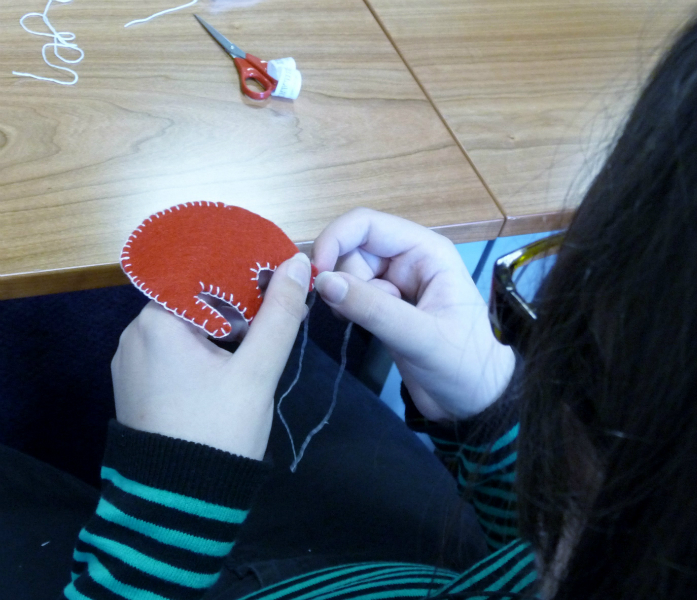 Sophie is busy with blanket stitch