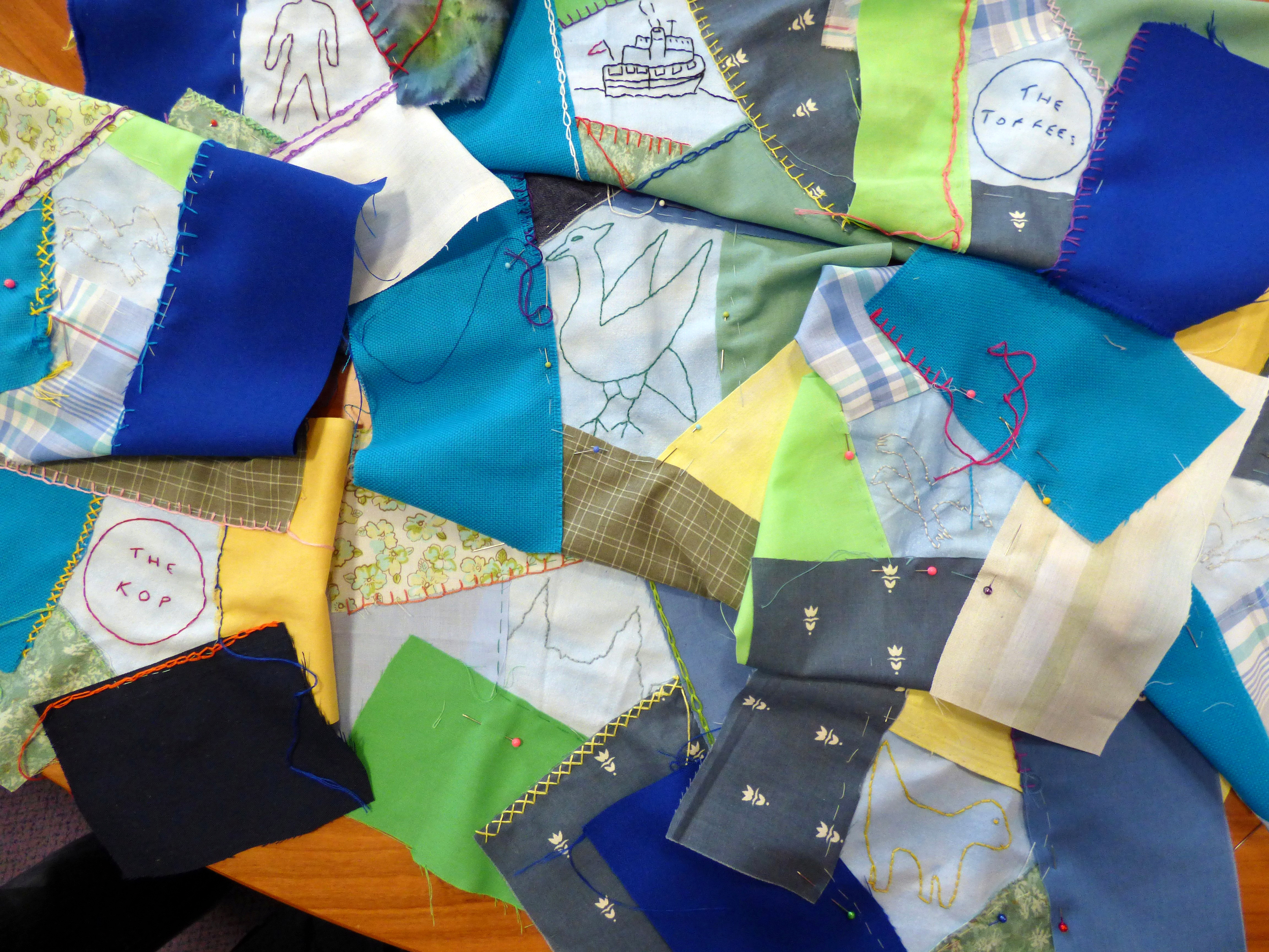 we are going to make a crazy patchwork cushion for the Lord Mayor's Parlour, Merseyside YE group October 2016