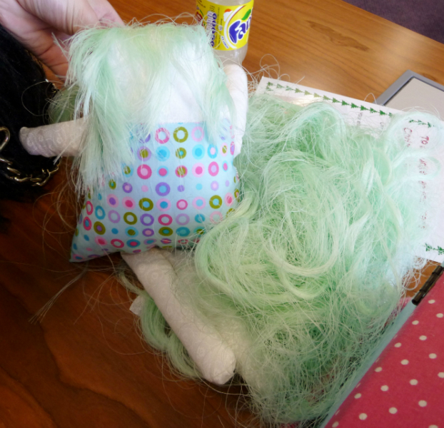 Tayla\'s doll has an abundance of hair- a work in progress