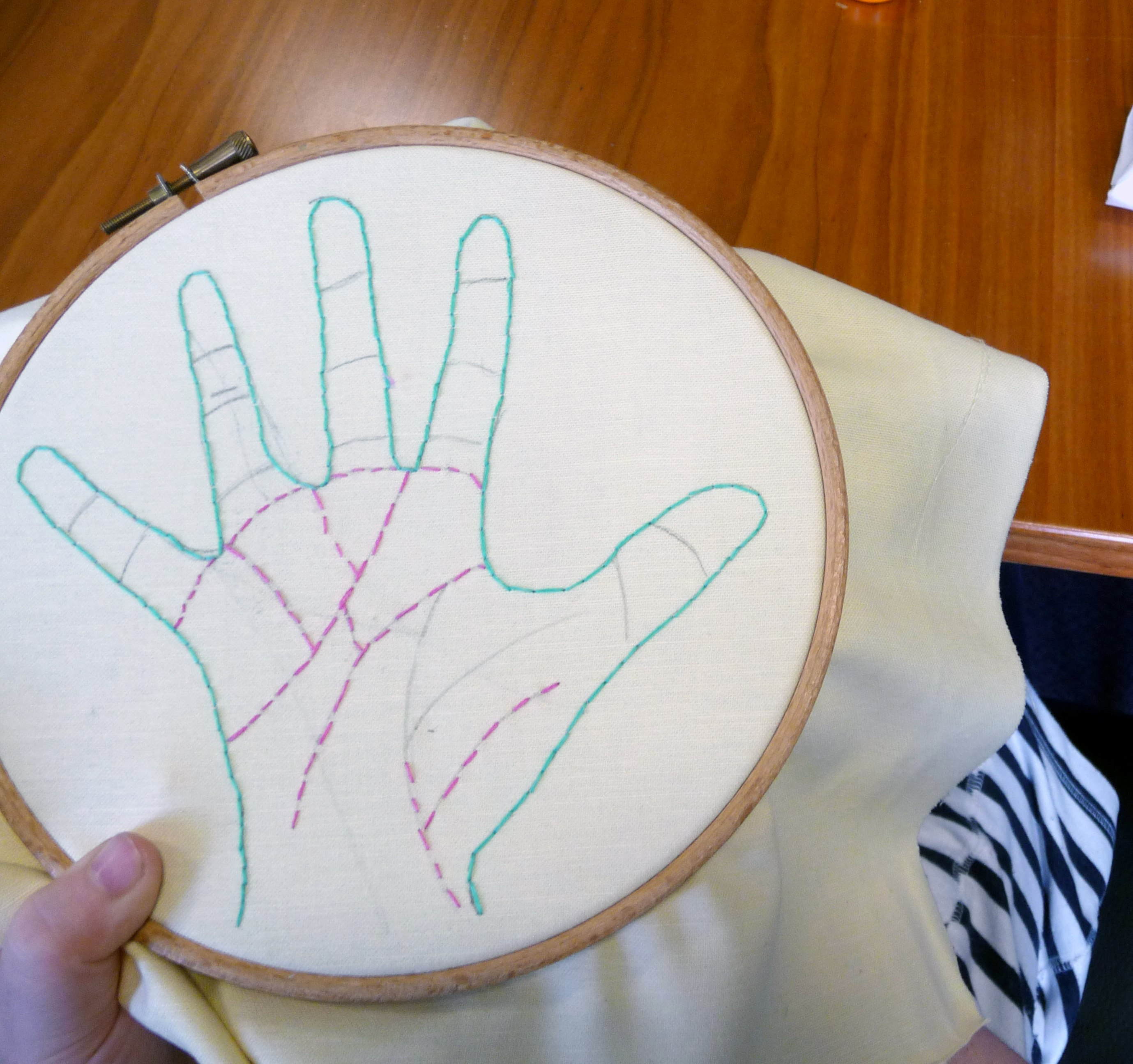 """Merseyside YE embroidered *fortune telling hands"""" this month"""
