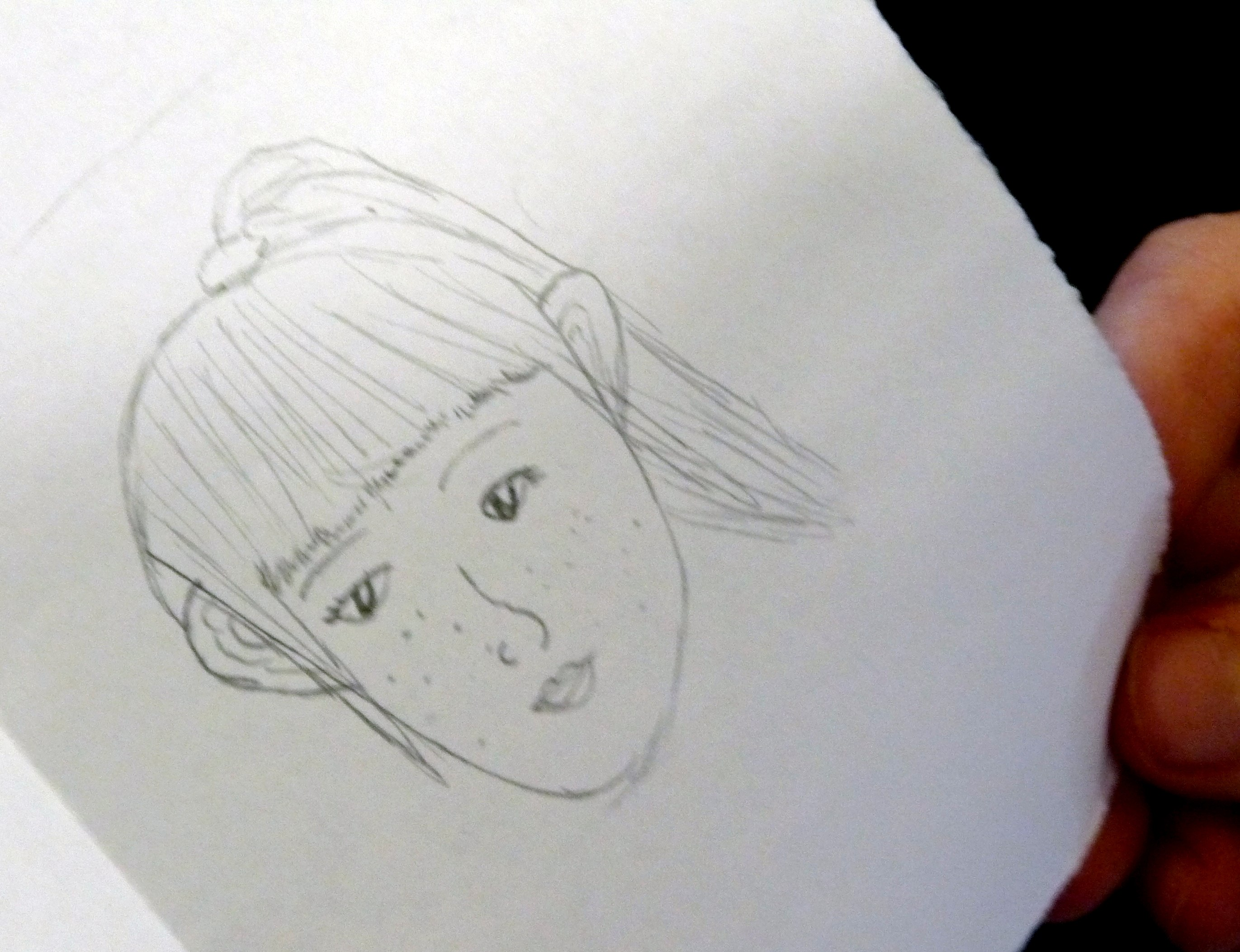 """we asked each YE member to draw a picture of themselves for """"In Our Liverpool Home"""". This is Ailis"""