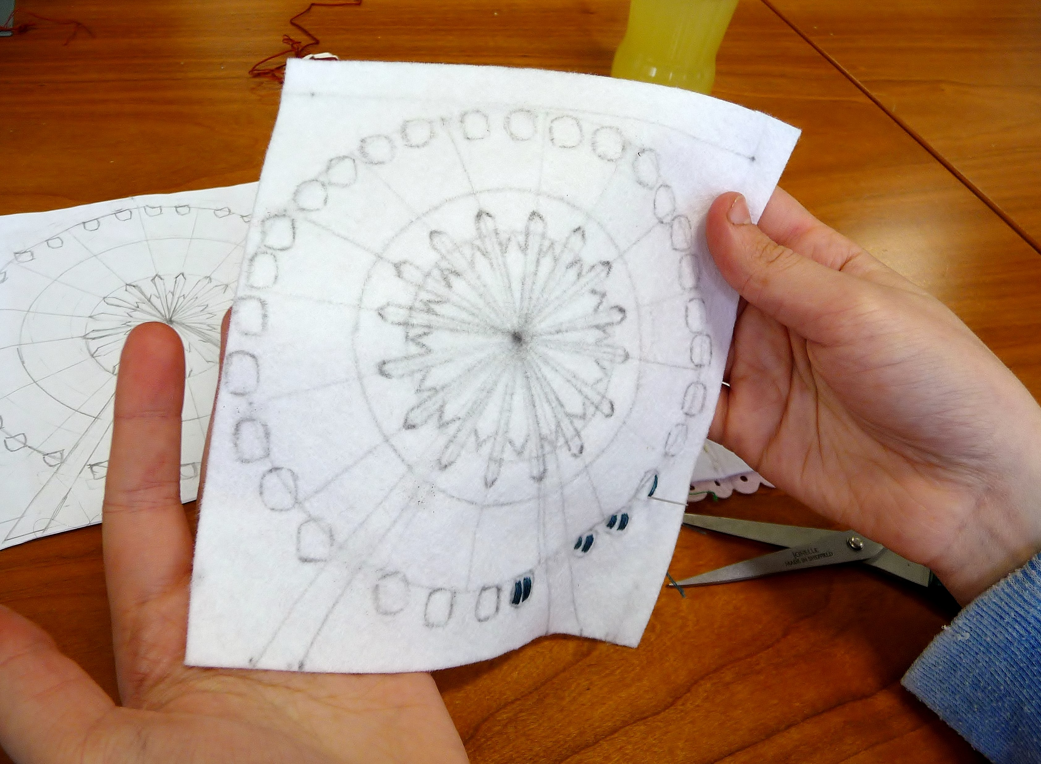 This will be the Big Wheel in Liverpool One, when Annie has finished embroidering it