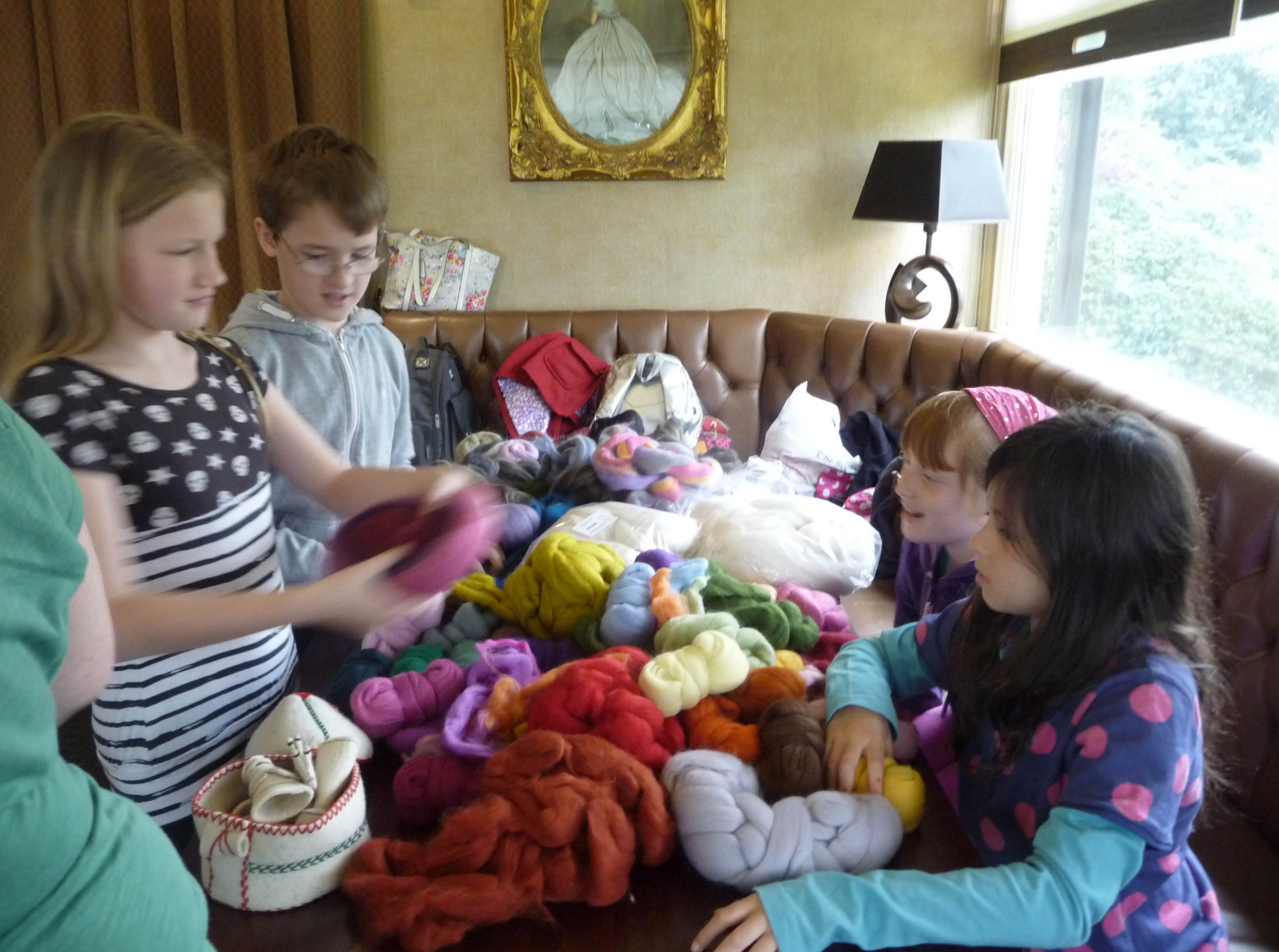 our tutor, Barbara Jepson,  had lots of merino wool ready to choose our colours
